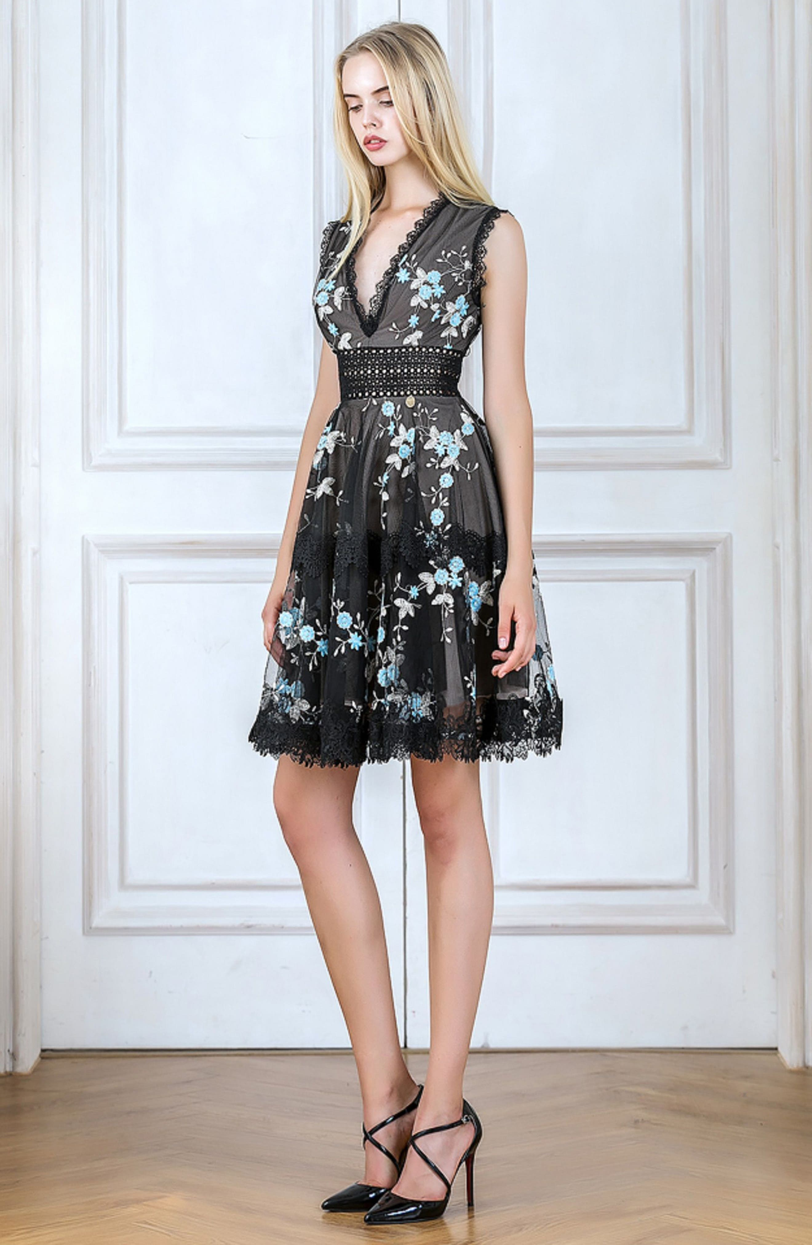 Marietta Embroidered Fit & Flare Dress,                             Alternate thumbnail 8, color,