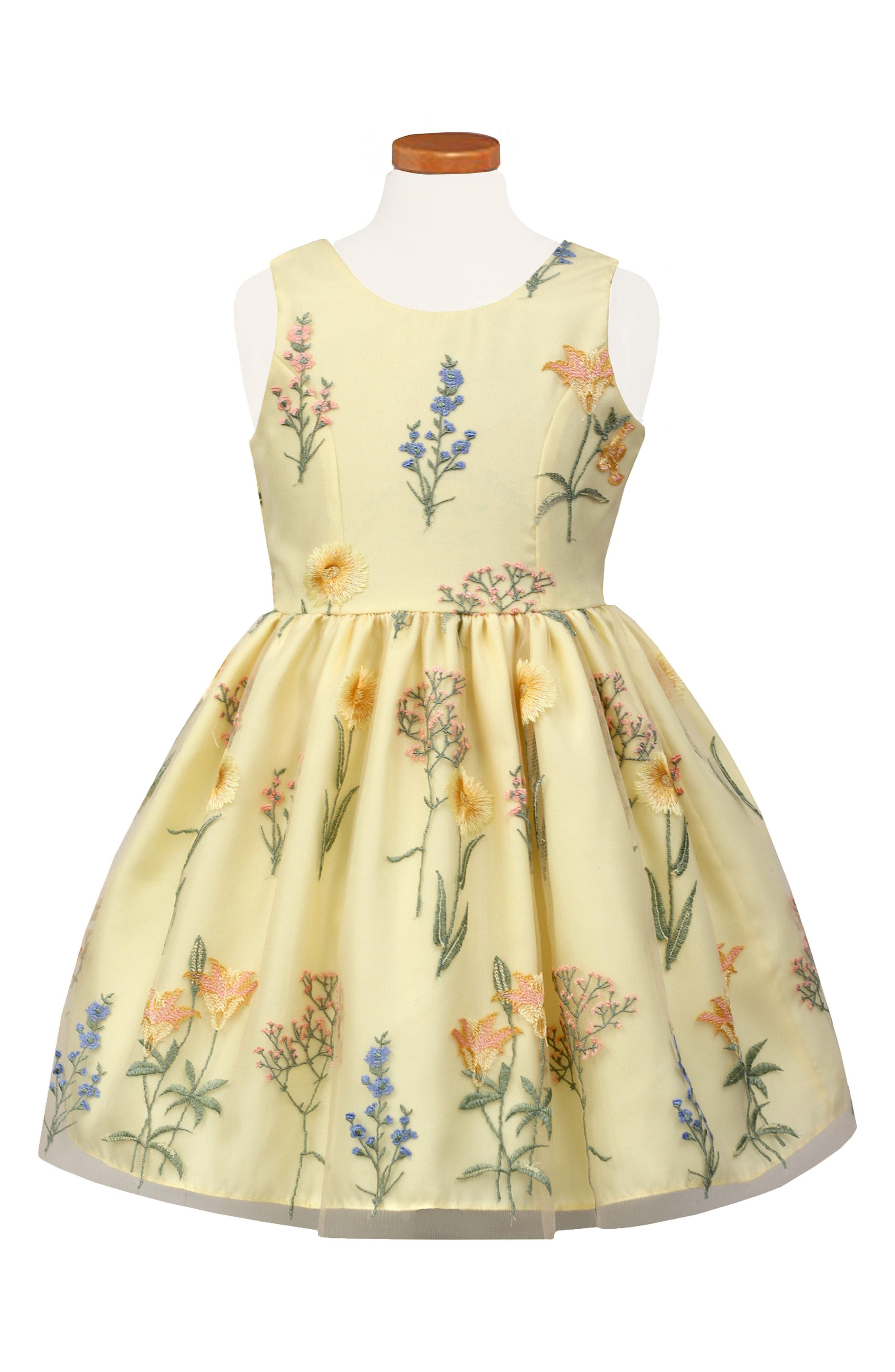 Embroidered Fit & Flare Dress,                             Main thumbnail 1, color,                             Yellow