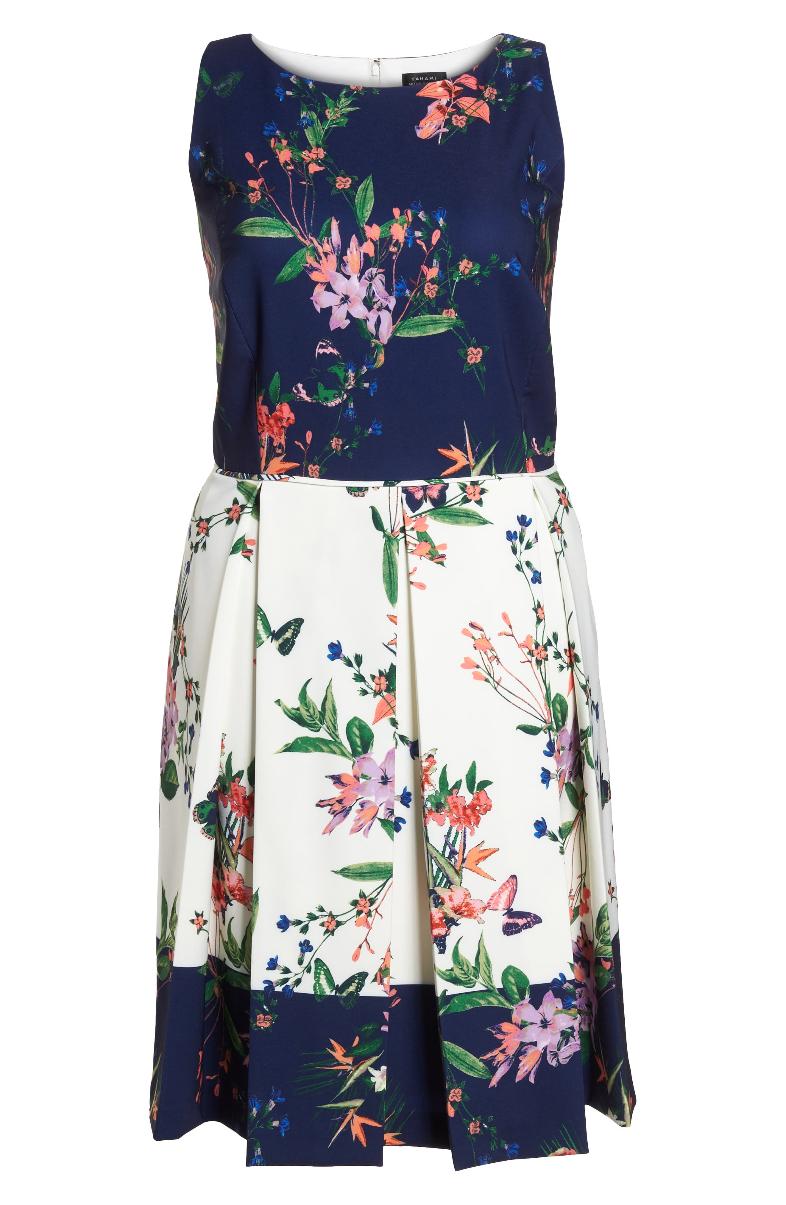 Colorblock Floral Crepe Fit & Flare Dress,                             Alternate thumbnail 6, color,                             Ivory/ Navy/ Coral
