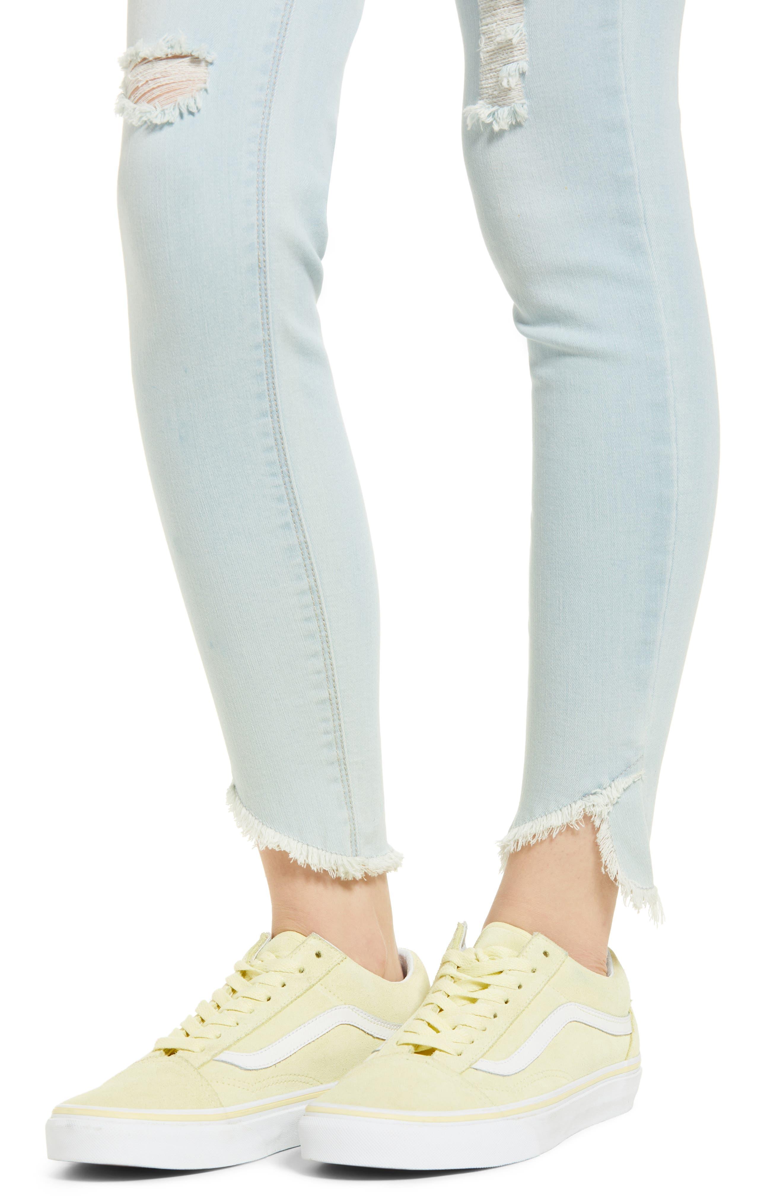Distressed Asymmetrical Hem Skinny Jeans,                             Alternate thumbnail 4, color,                             Light Wash