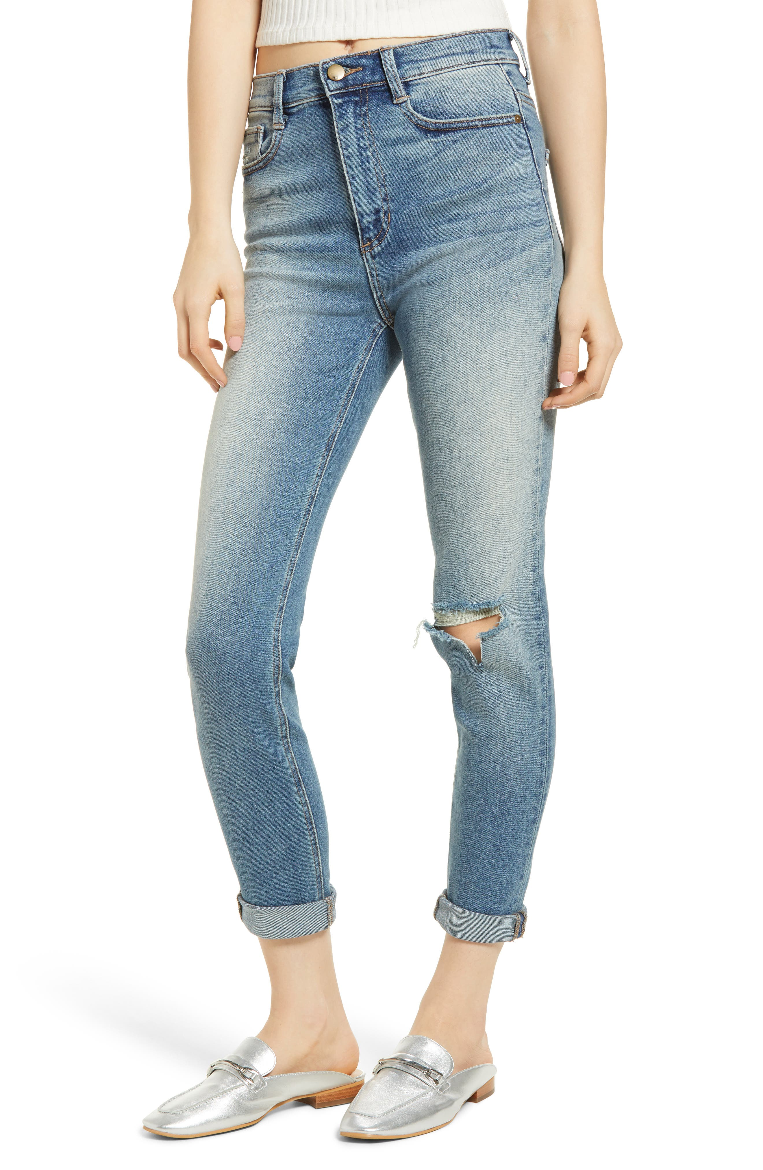 Ripped High Waist Boyfriend Jeans,                             Main thumbnail 1, color,                             Med Wash