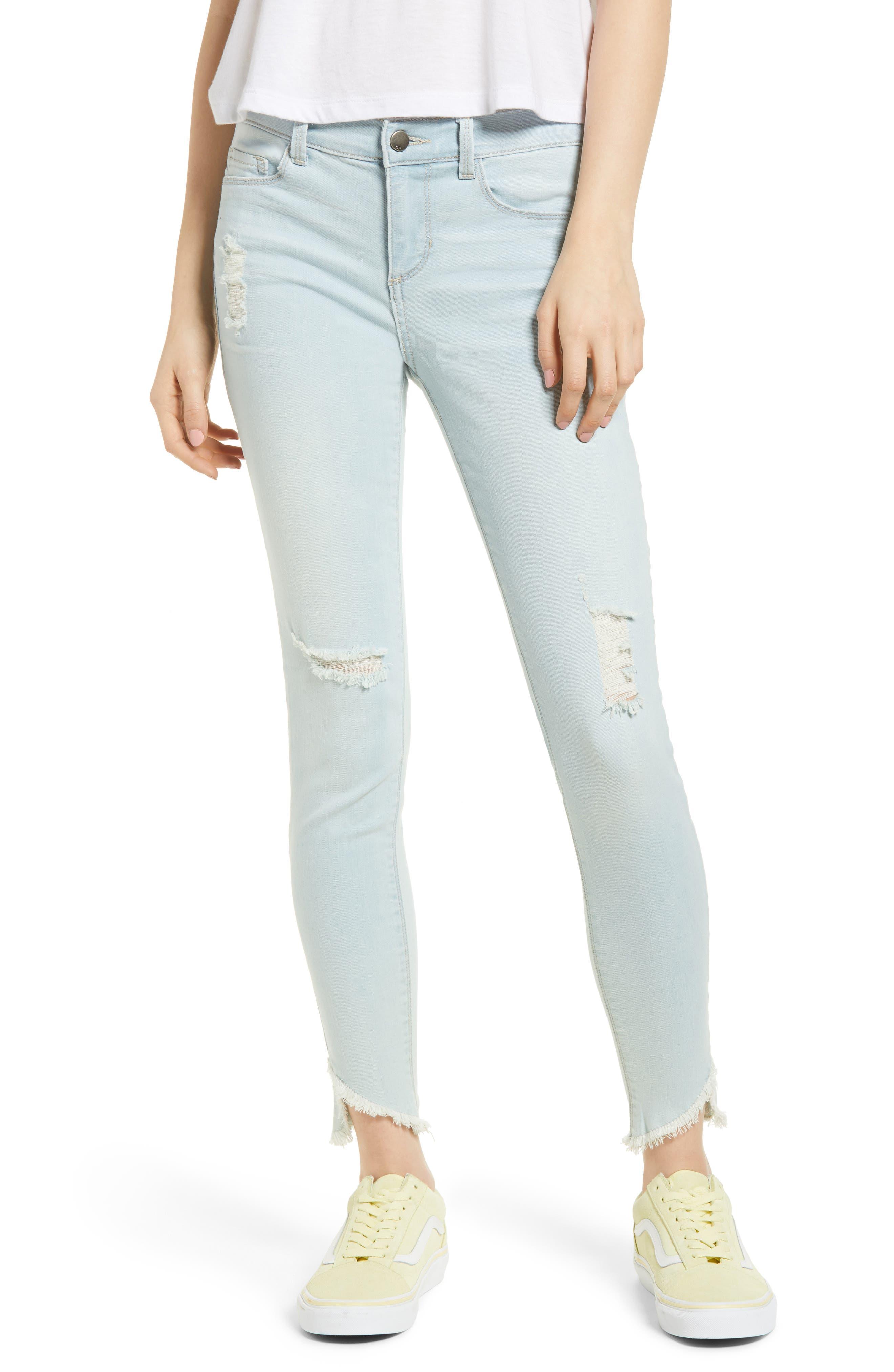 Distressed Asymmetrical Hem Skinny Jeans,                             Main thumbnail 1, color,                             Light Wash