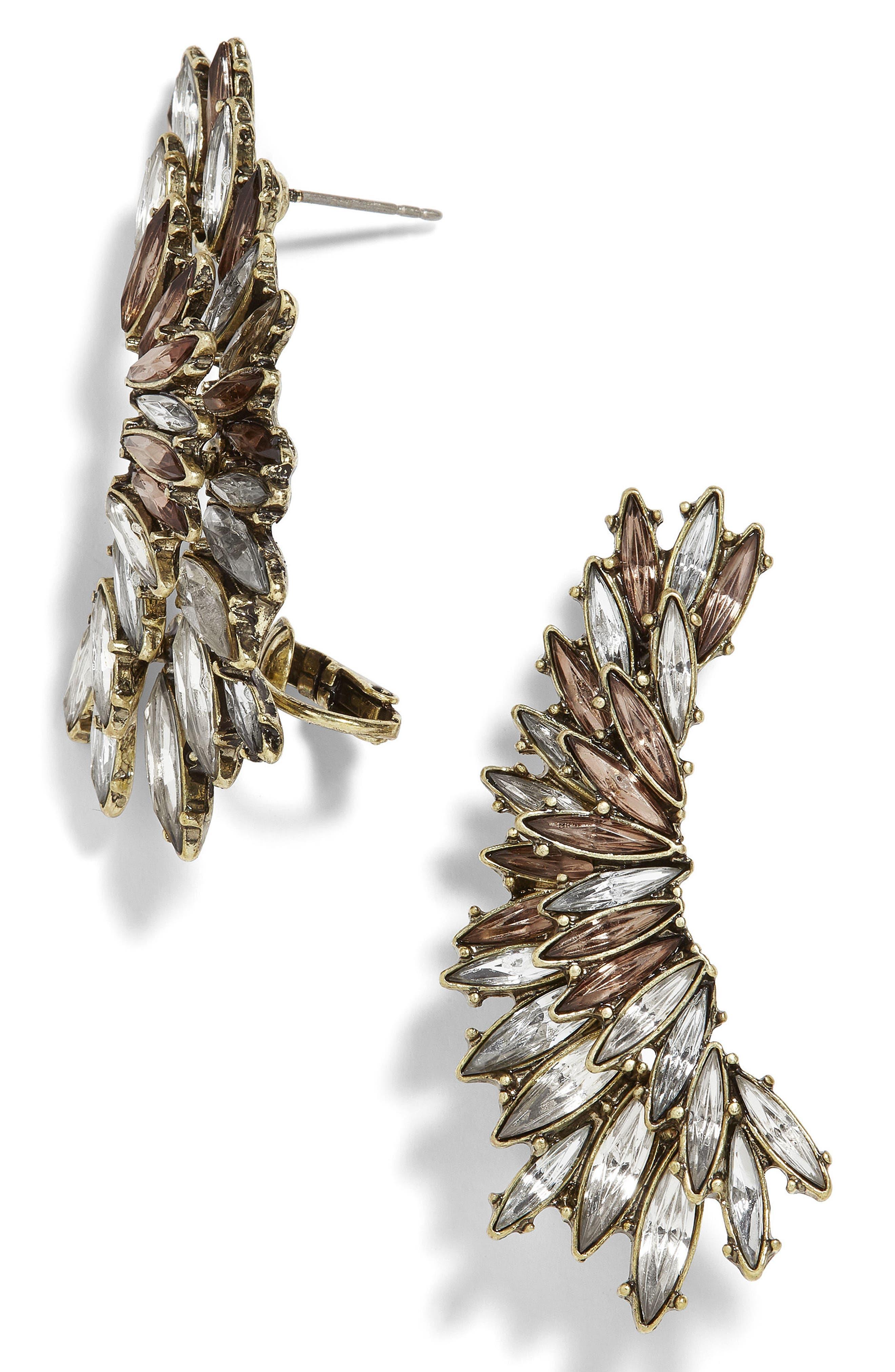 Aubergine Crystal Ear Crawlers,                         Main,                         color, Silk