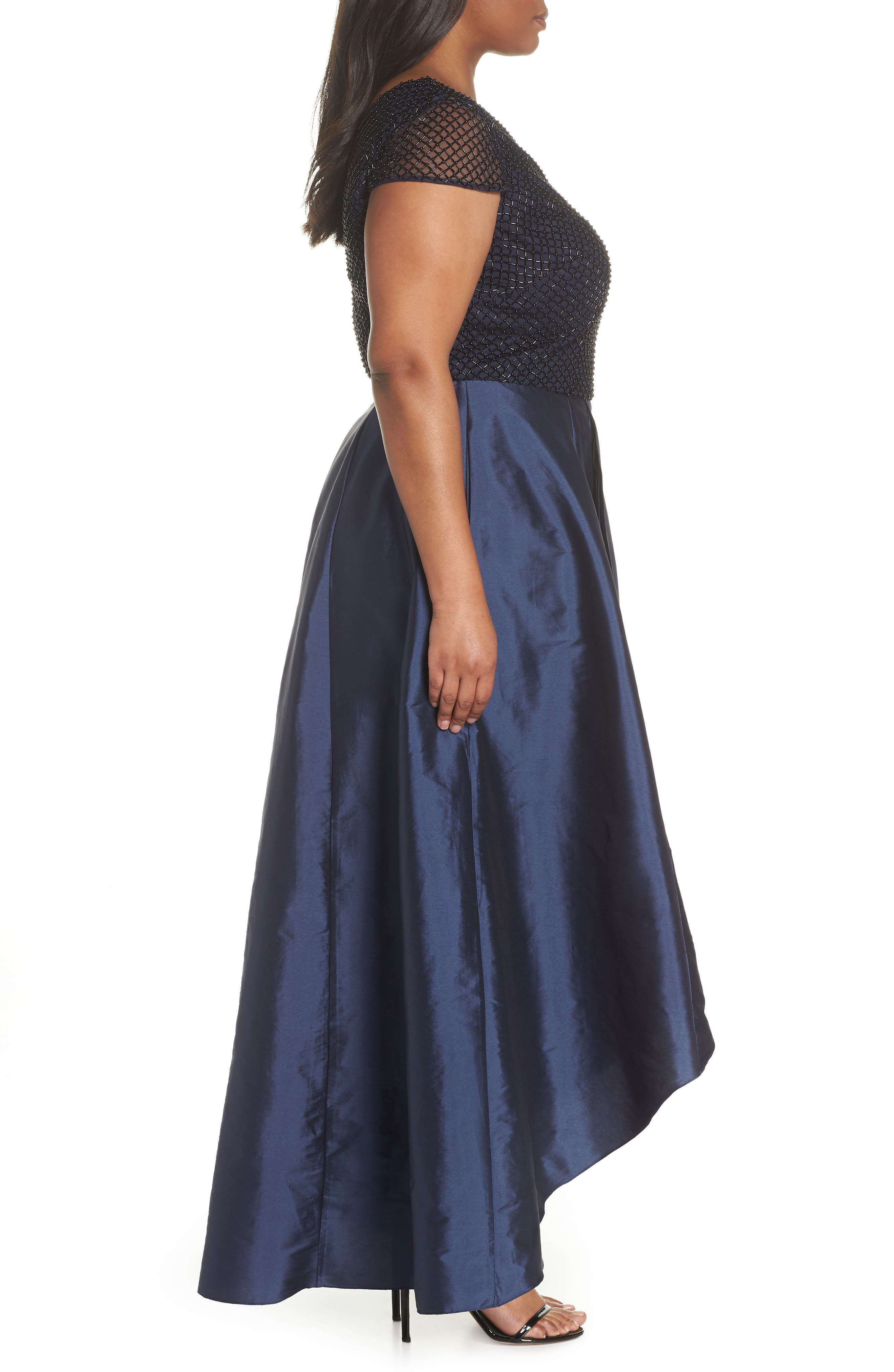 Bead Embellished High/Low Gown,                             Alternate thumbnail 3, color,                             Navy