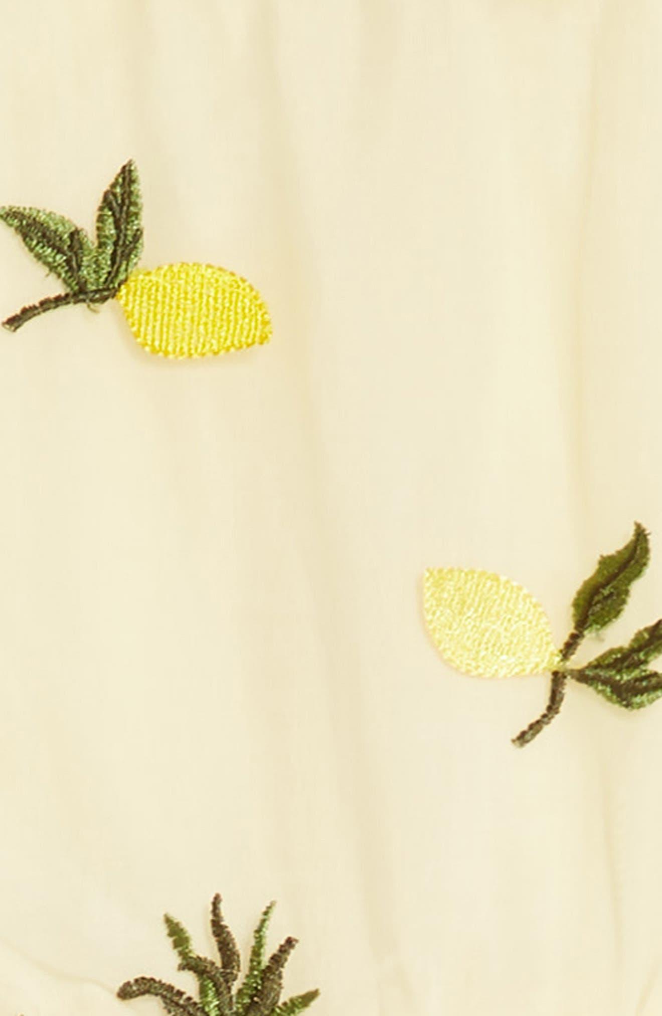 Pineapple & Lemon Embroidered Dress,                             Alternate thumbnail 3, color,                             Tan
