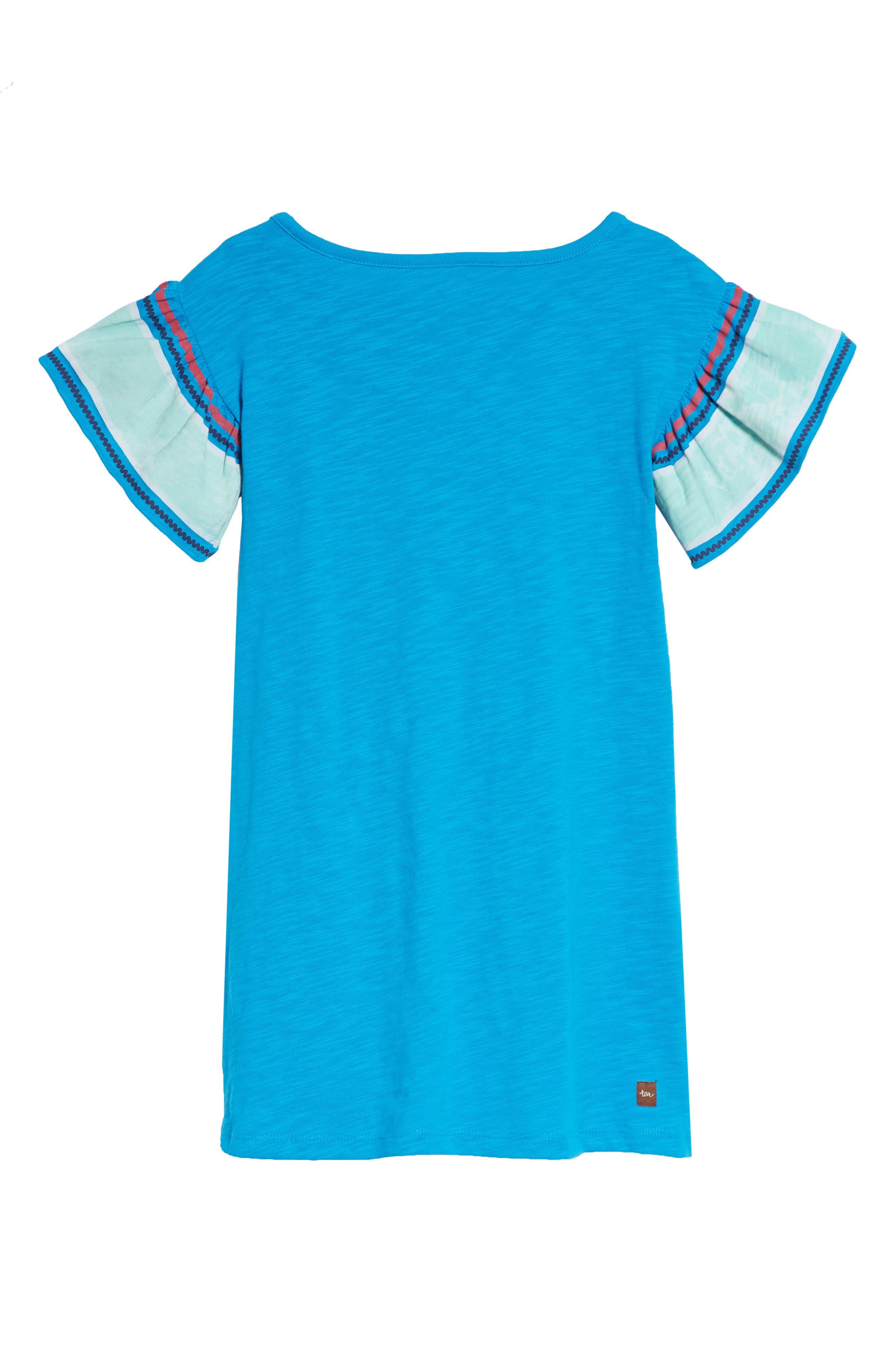 Ruffle Sleeve T-Shirt Dress,                             Alternate thumbnail 2, color,                             Island Blue