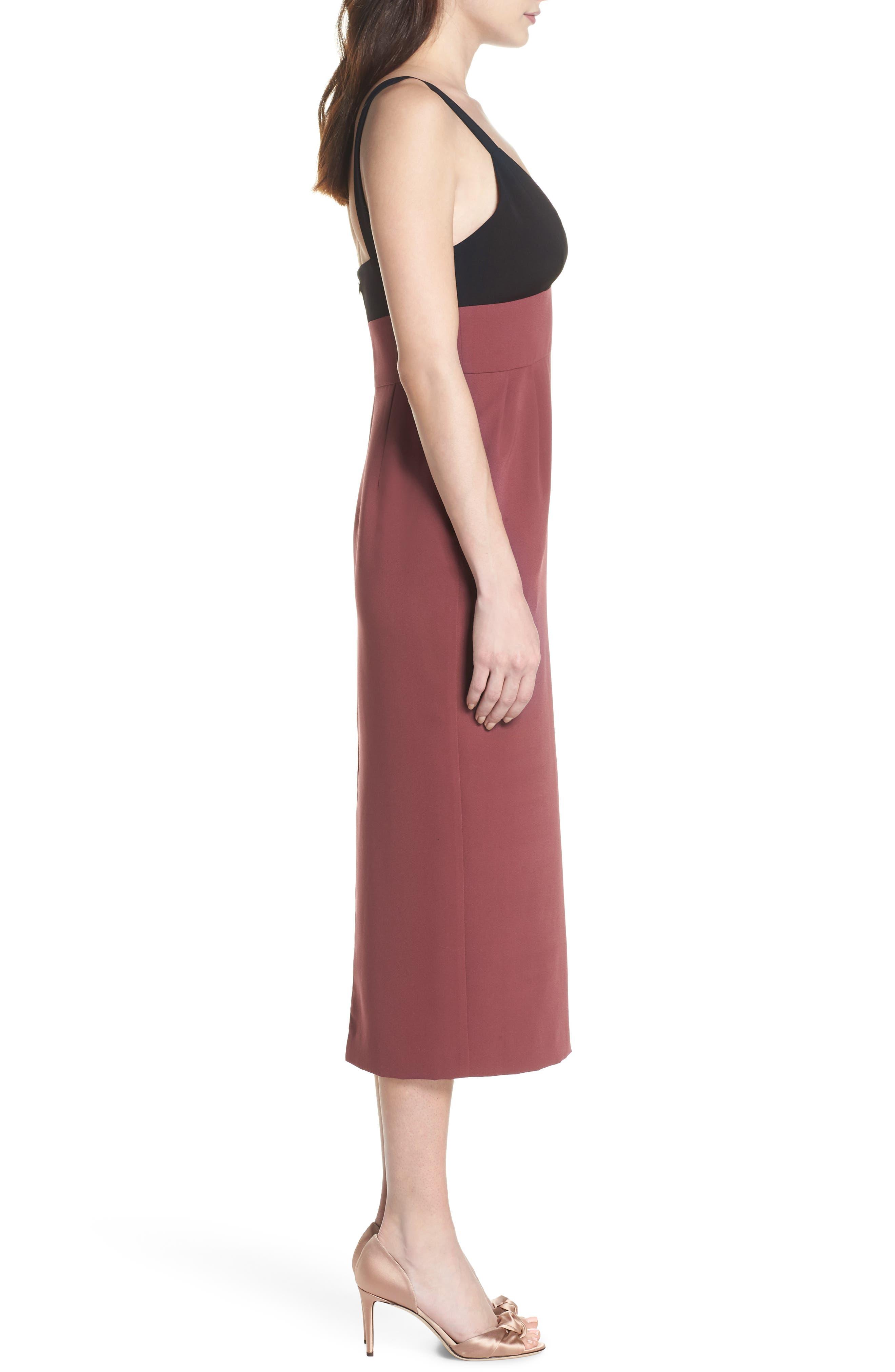 Colorblock Midi Dress,                             Alternate thumbnail 3, color,                             Black/ Pandora