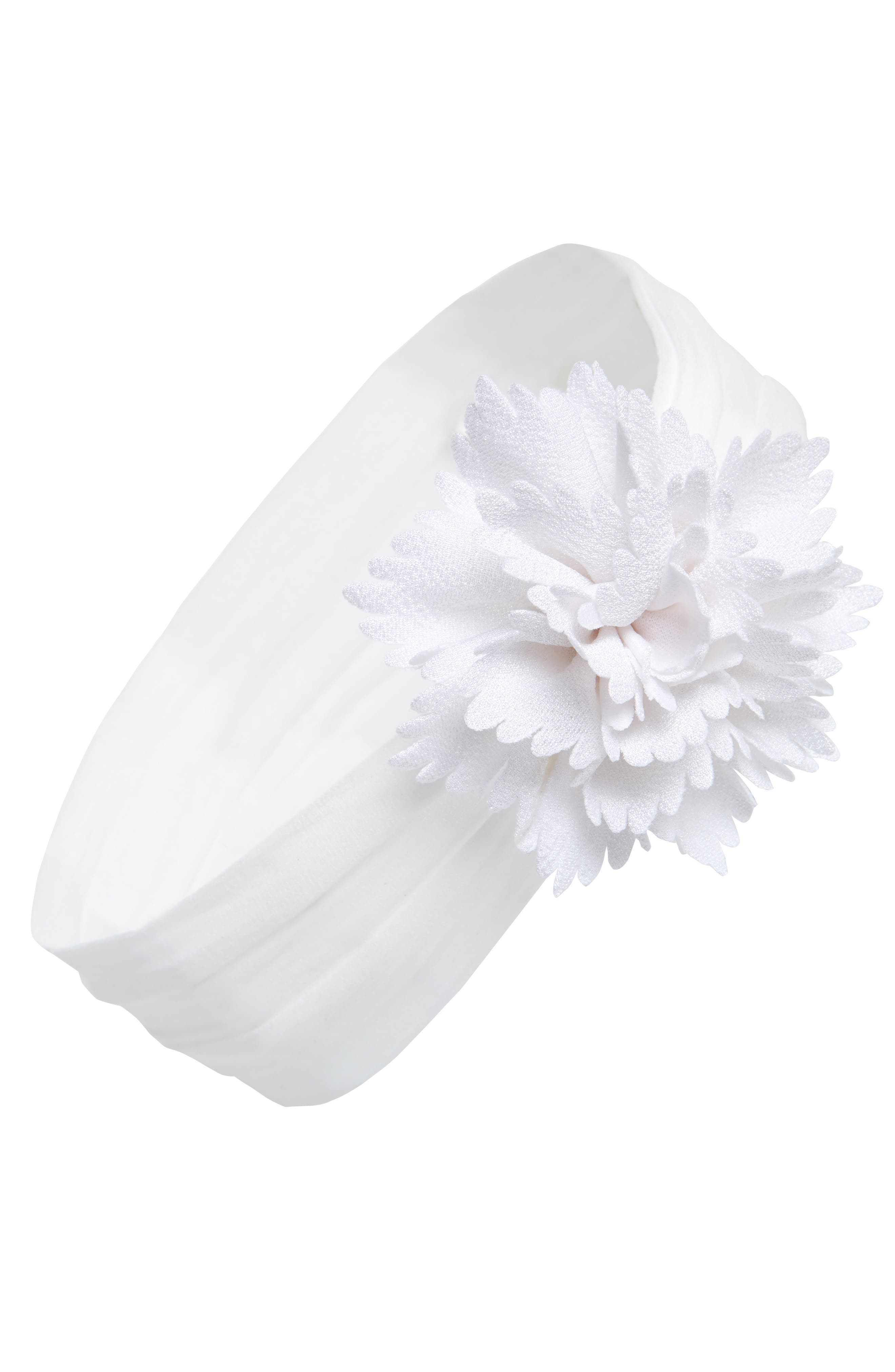 Flower Head Wrap,                             Main thumbnail 1, color,                             White