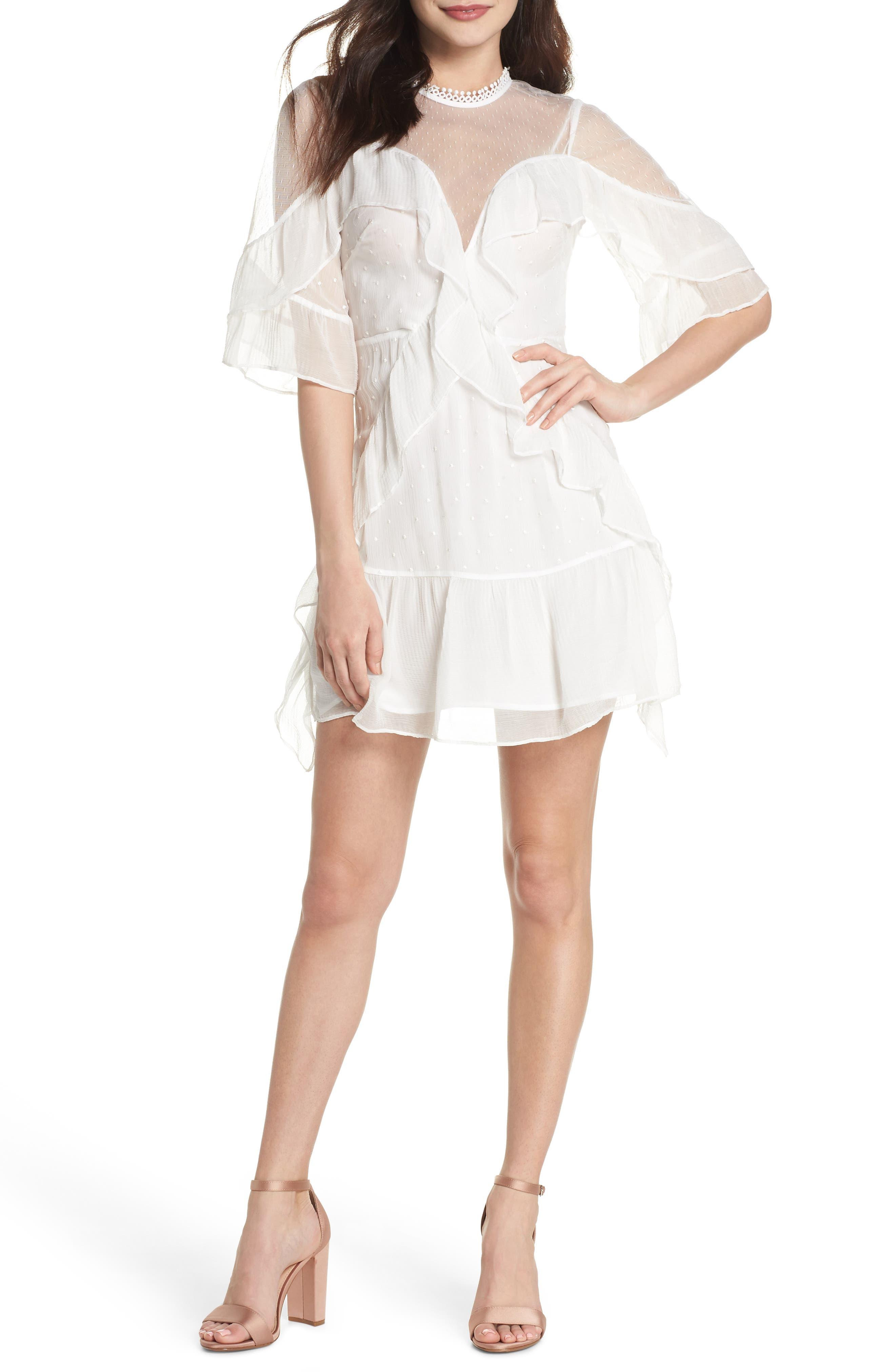 Enchantment Ruffle Chiffon Minidress,                         Main,                         color, White