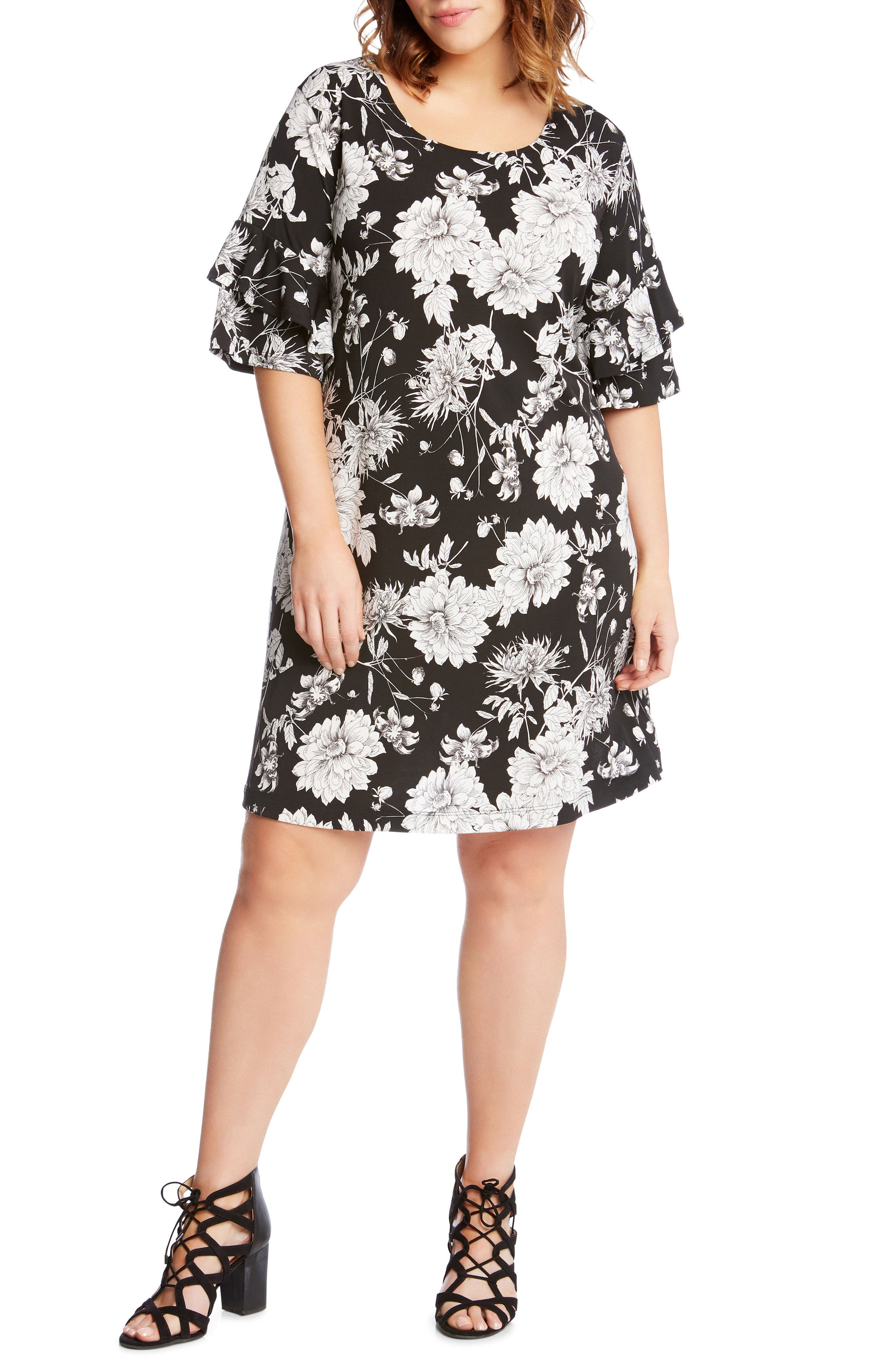 Main Image - Karen Kane Floral Ruffle Sleeve Shift Dress (Plus Size)