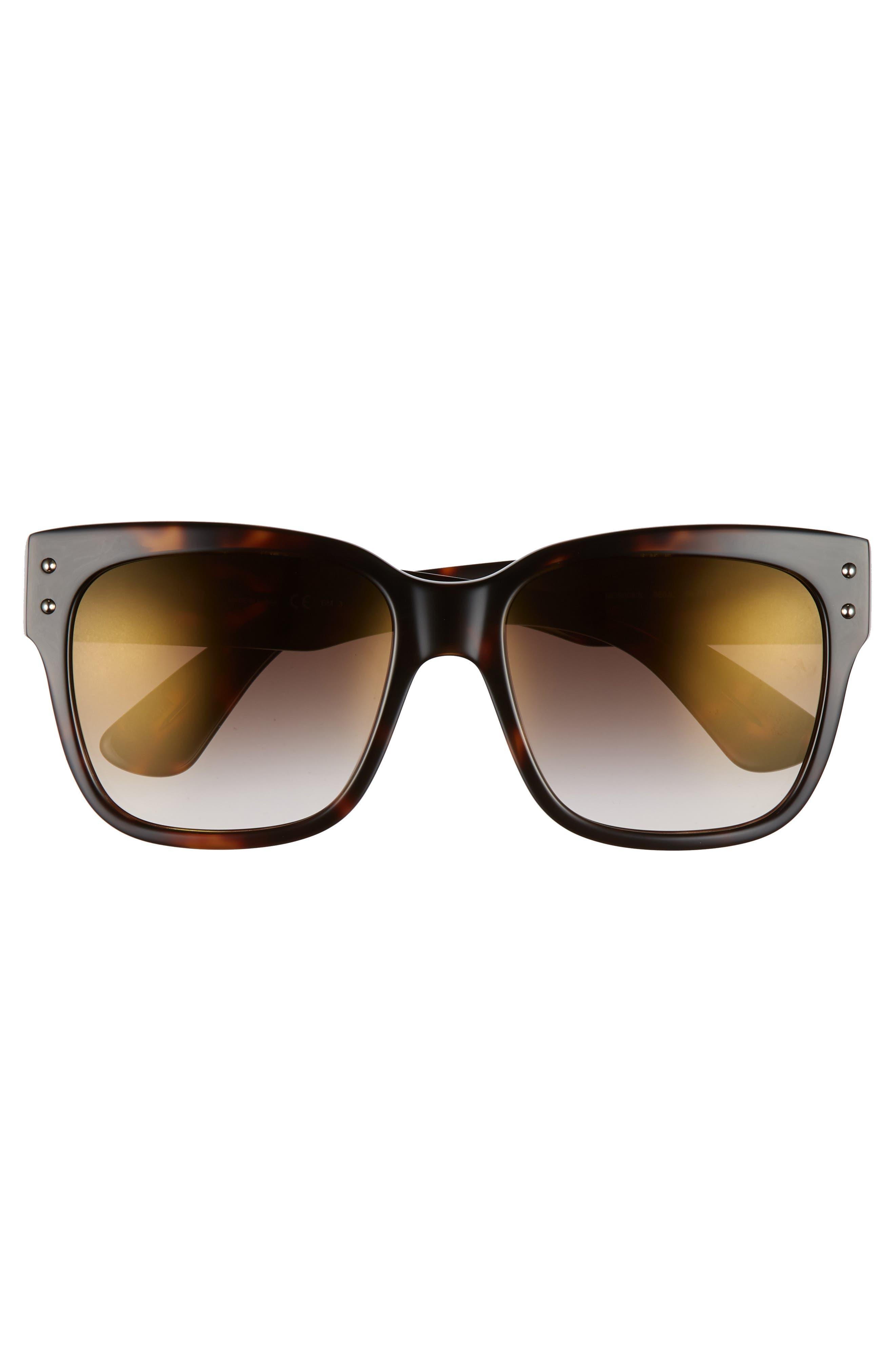 56mm Gradient Lens Sunglasses,                             Alternate thumbnail 3, color,                             Dark Havana