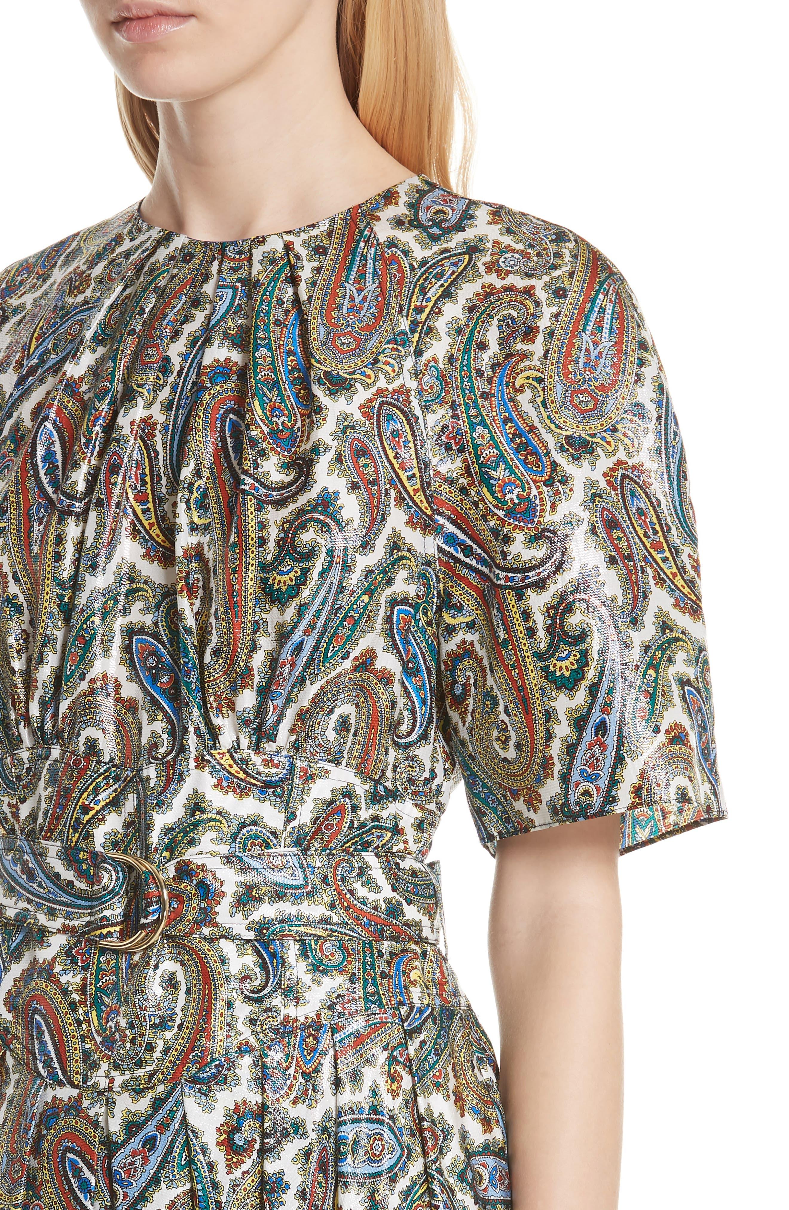 Belted Silk Blend Dress,                             Alternate thumbnail 4, color,                             Barton Logo Ivory