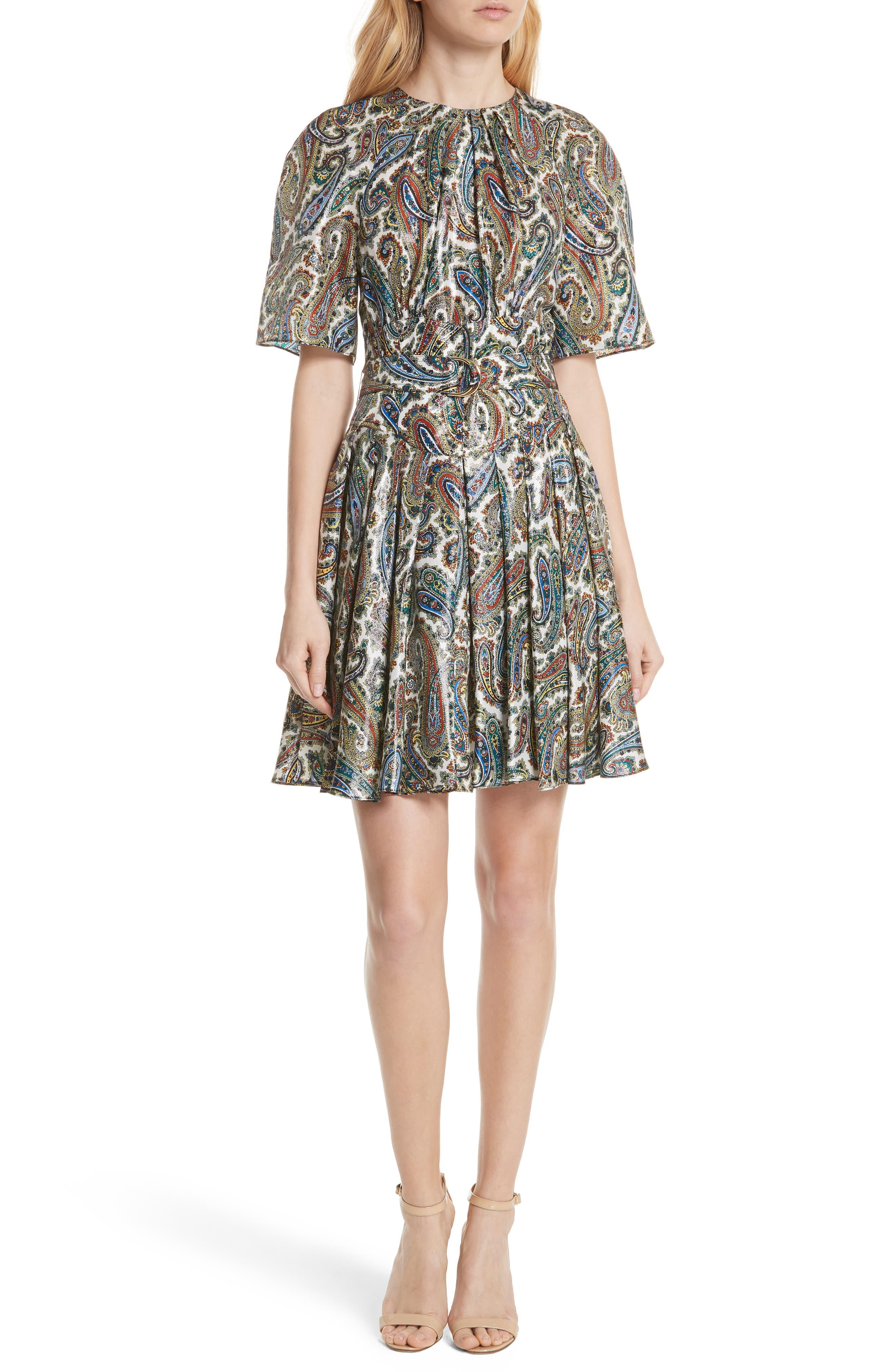 Belted Silk Blend Dress,                         Main,                         color, Barton Logo Ivory