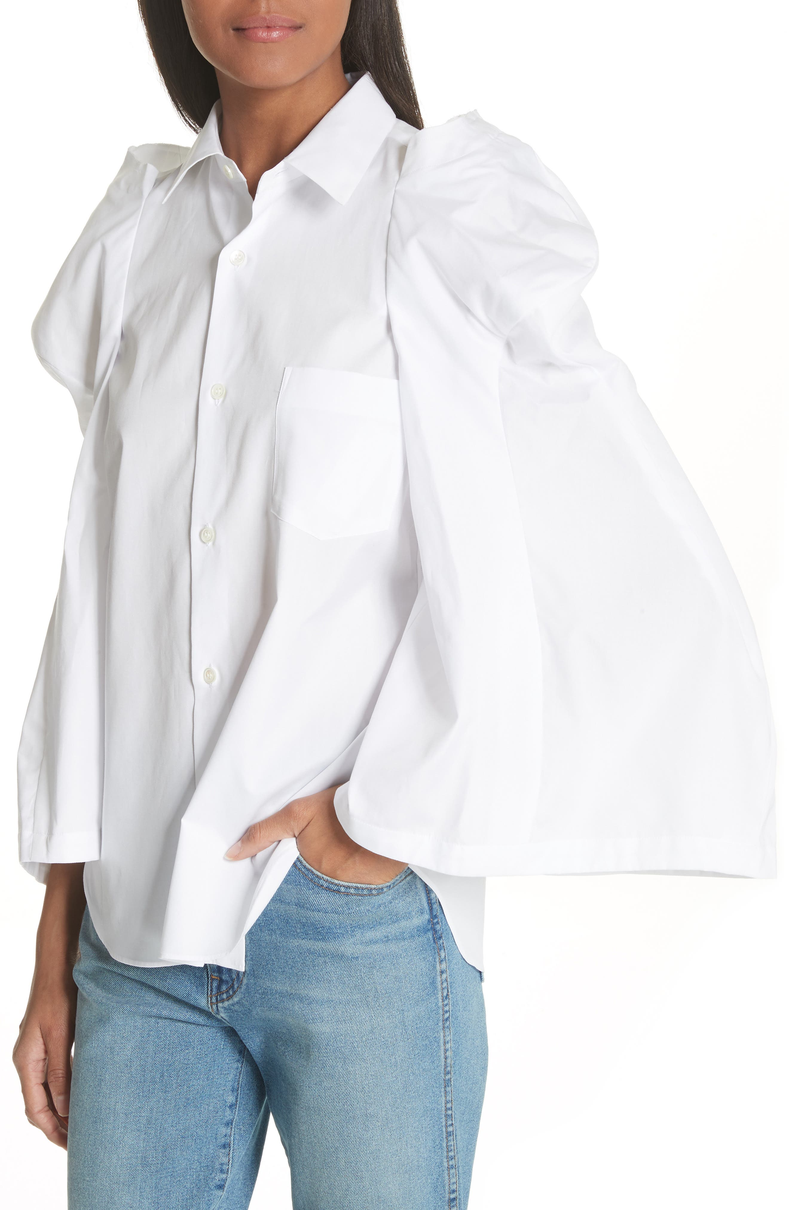 Puff Sleeve Blouse,                             Alternate thumbnail 4, color,                             White