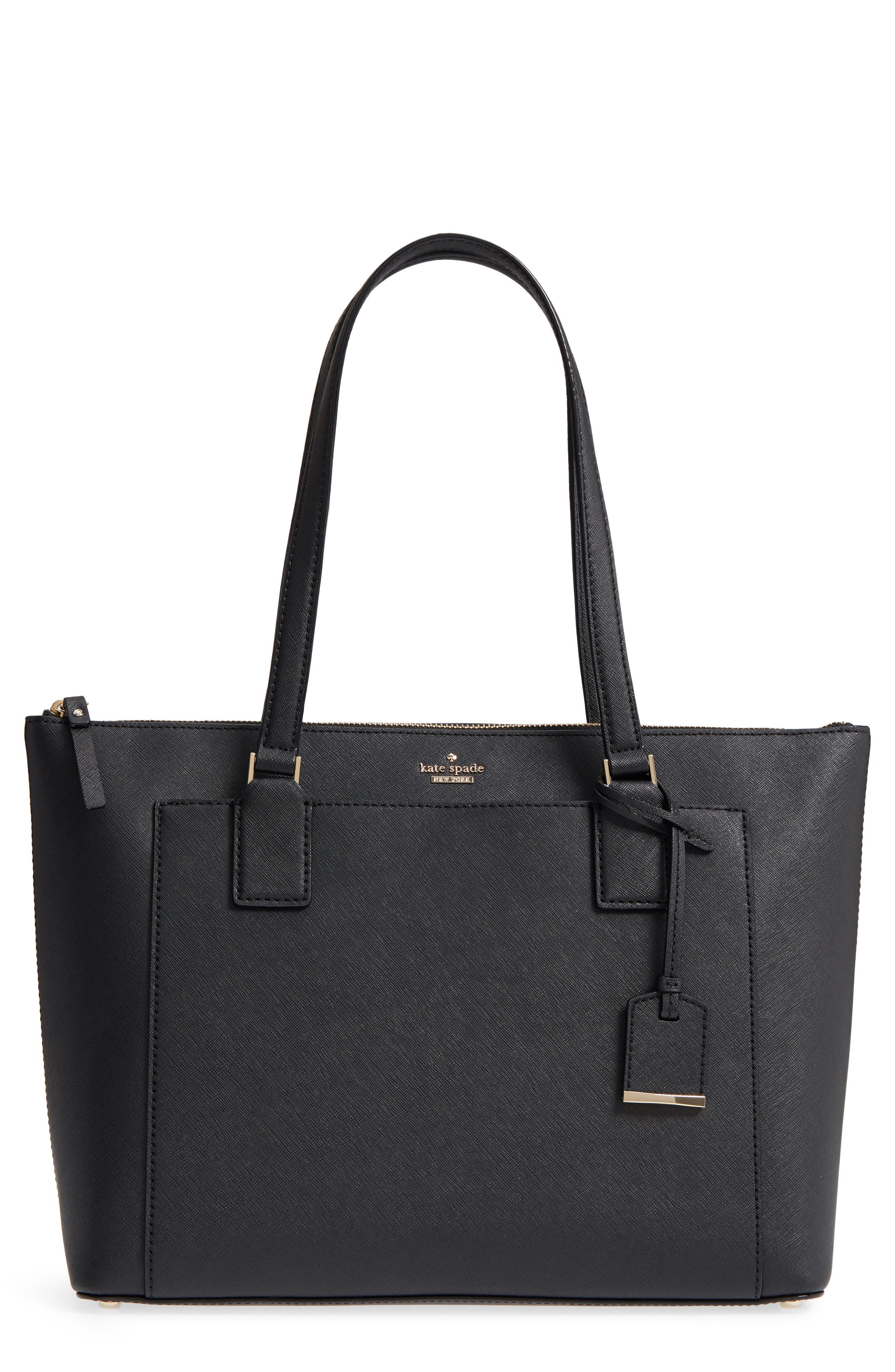 cameron street – audrey leather laptop tote,                         Main,                         color, Black