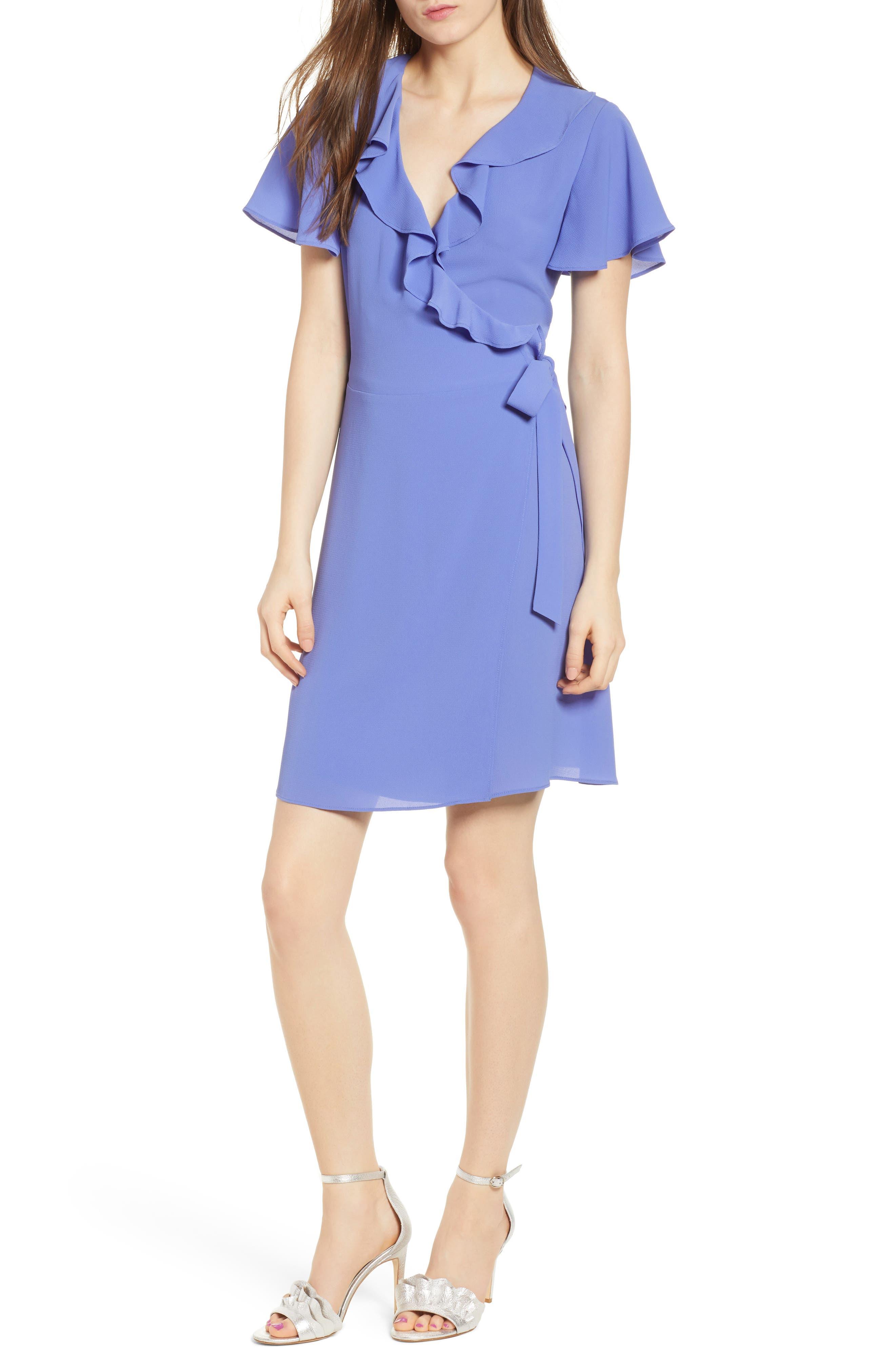 Print Wrap Minidress,                         Main,                         color, Purple Storm