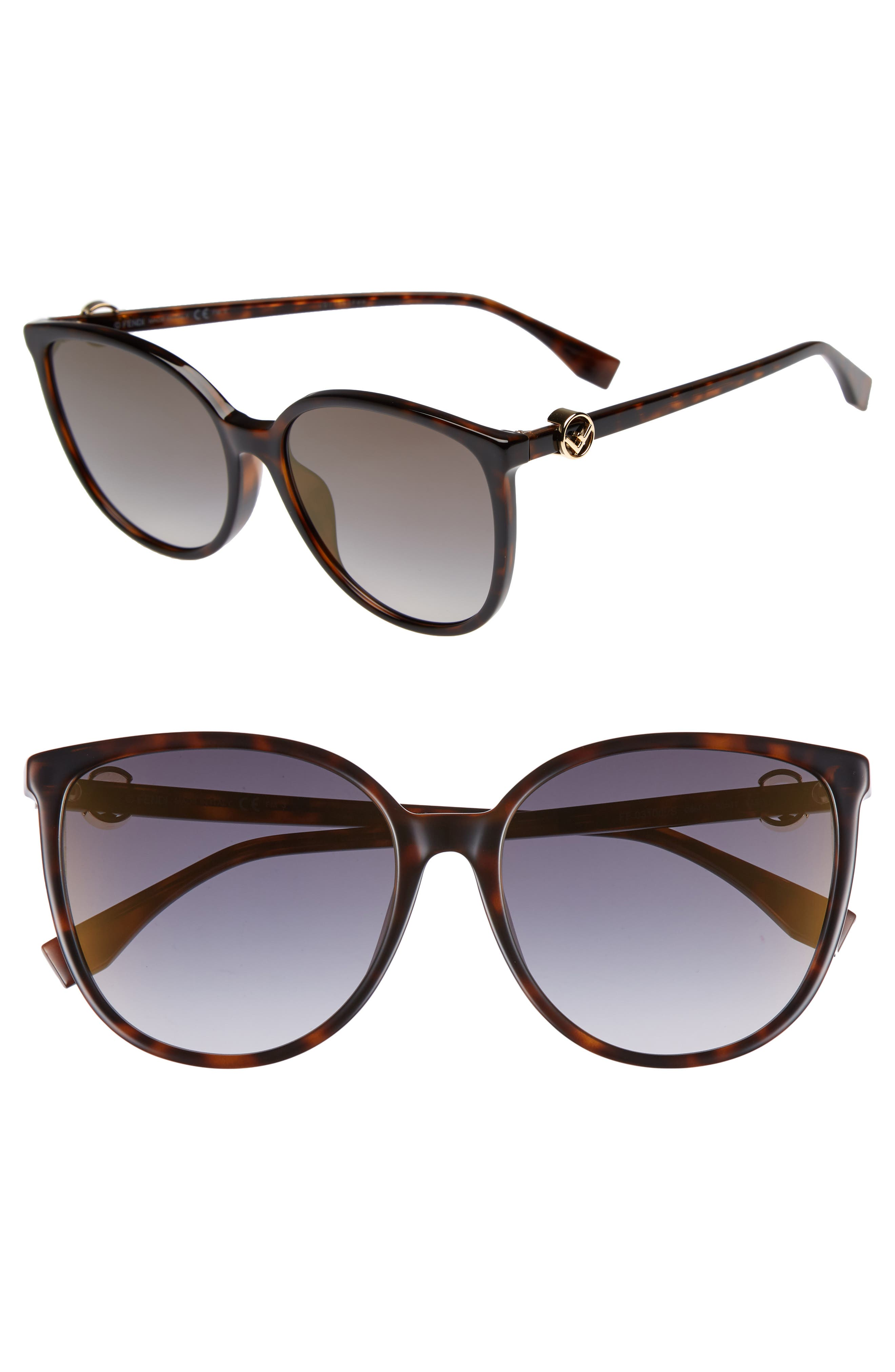 58mm Retro Special Fit Sunglasses,                         Main,                         color, Dark Havana