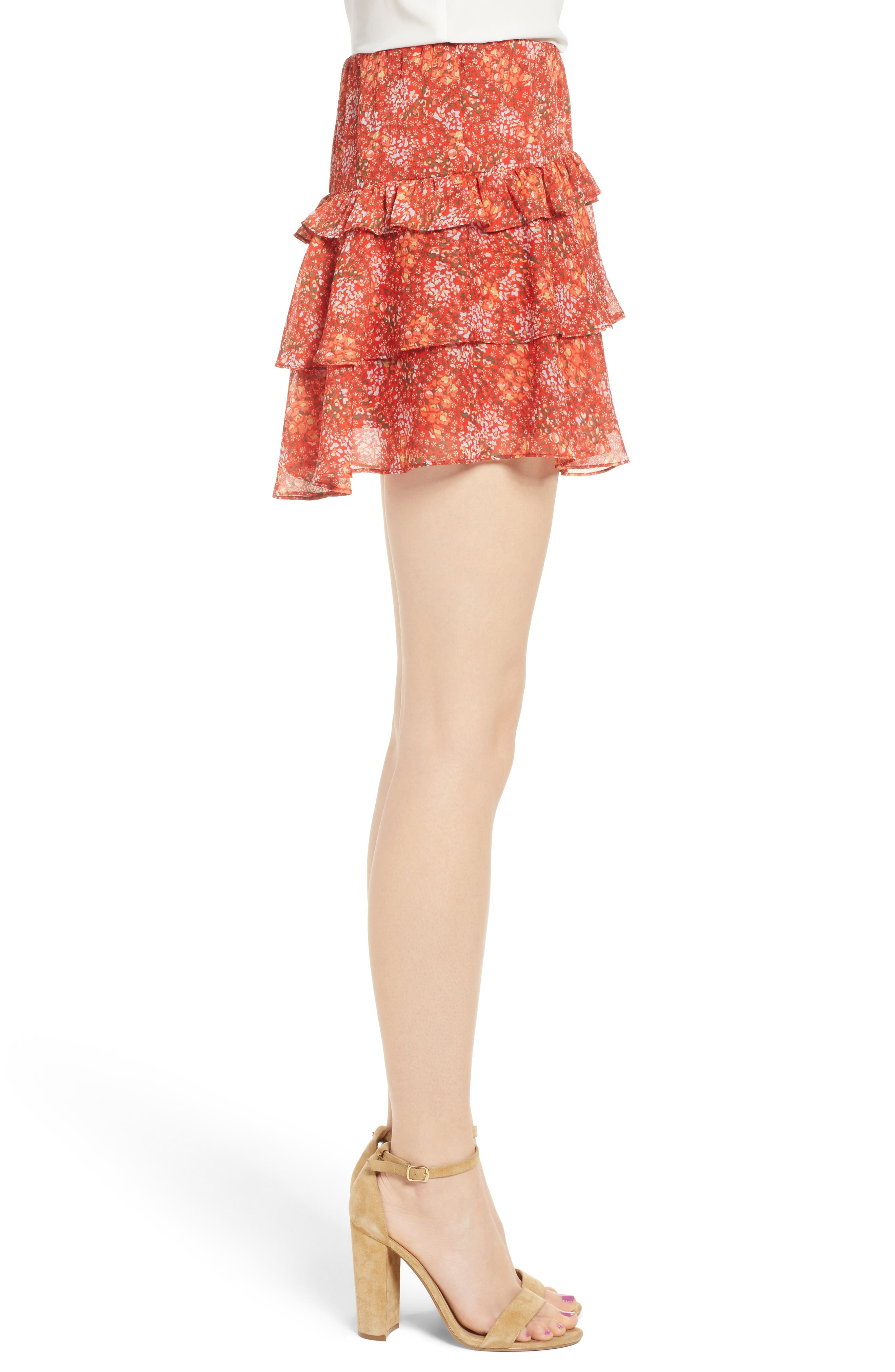 Phoebe Floral Tiered Miniskirt,                             Alternate thumbnail 3, color,                             Red Multi