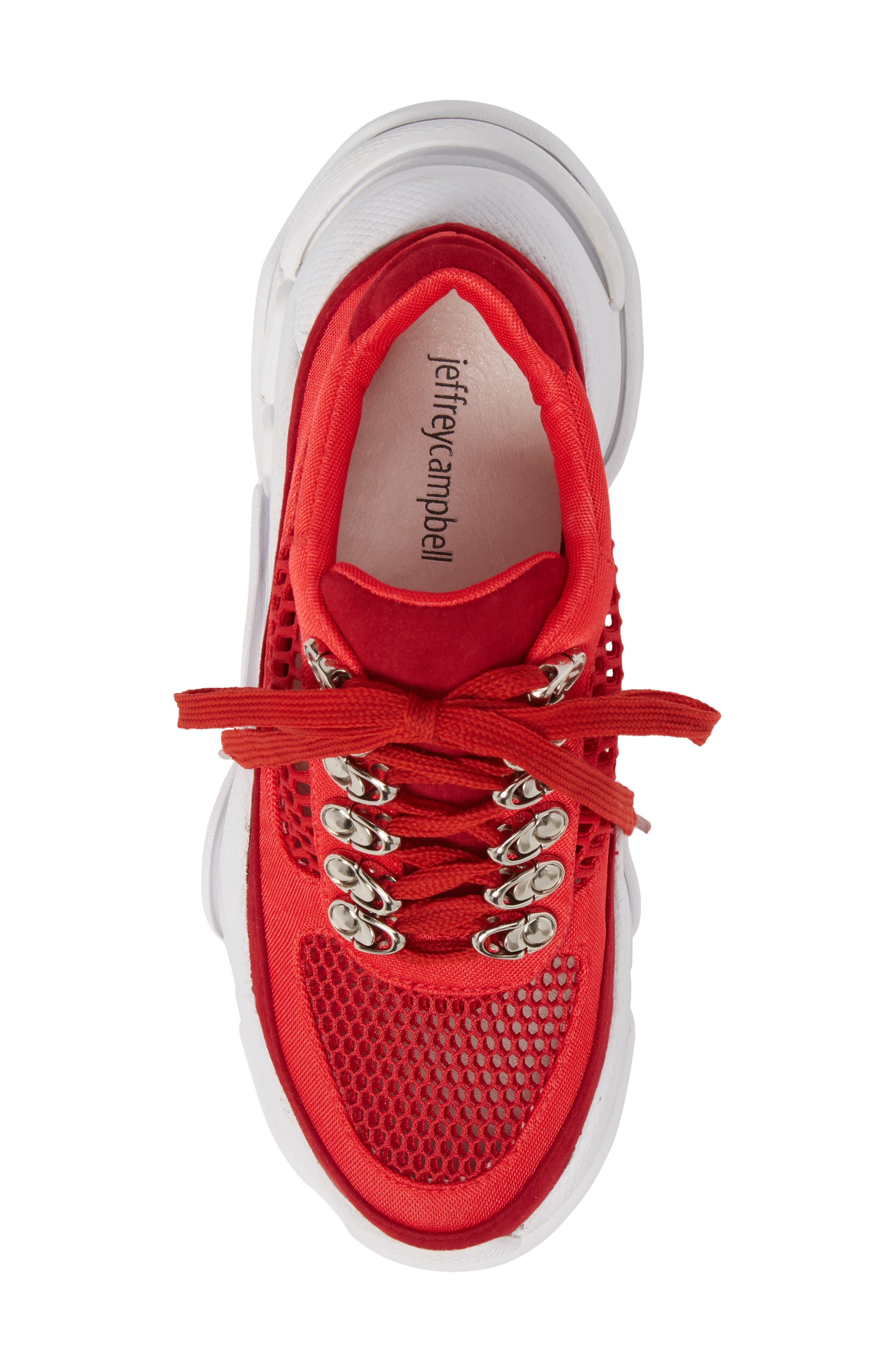 Hotspot Lace-Up Sneaker,                             Alternate thumbnail 5, color,                             Red