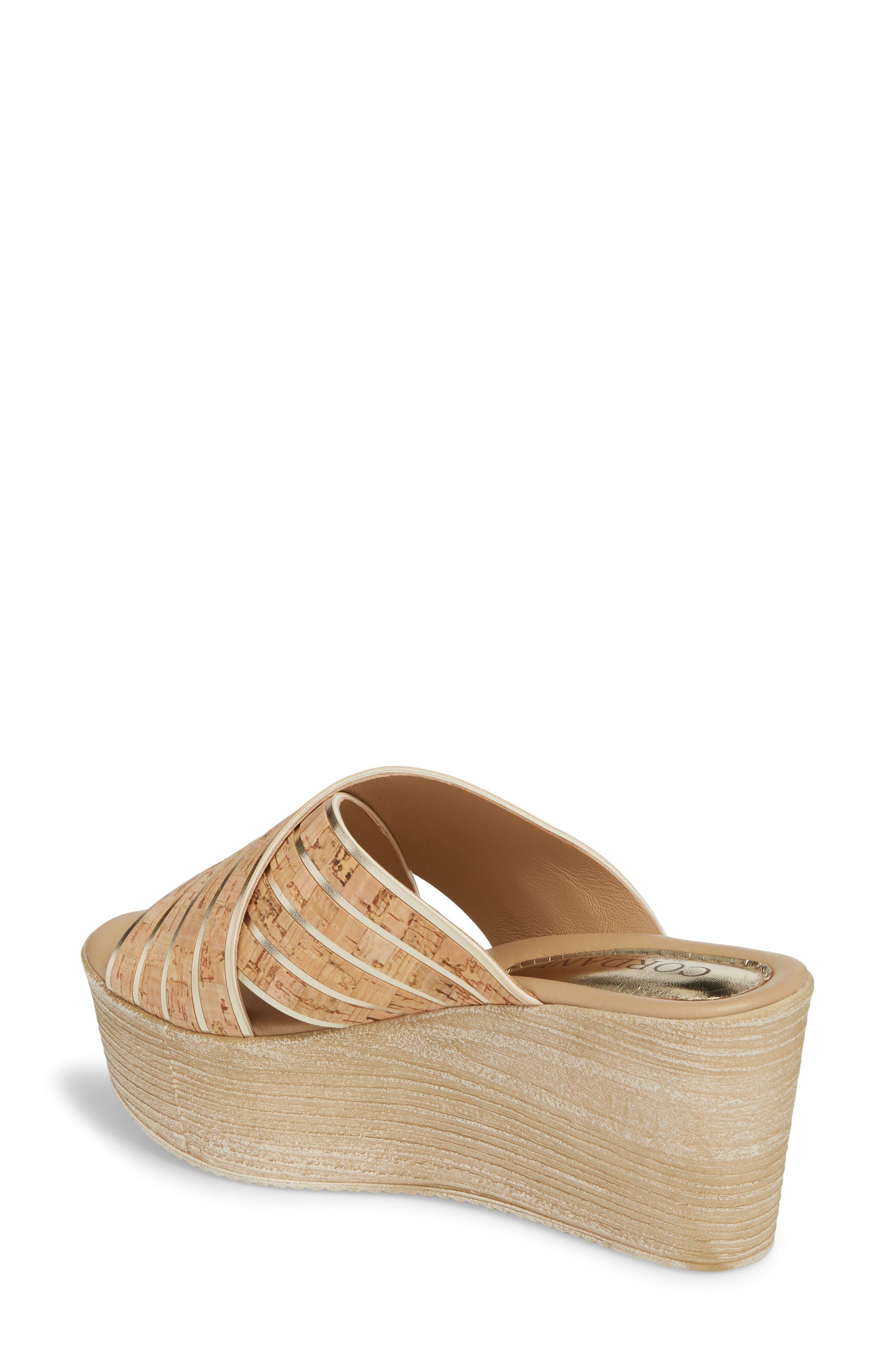 Jacey Platform Wedge Slide Sandal,                             Alternate thumbnail 2, color,                             Cork/ Gold