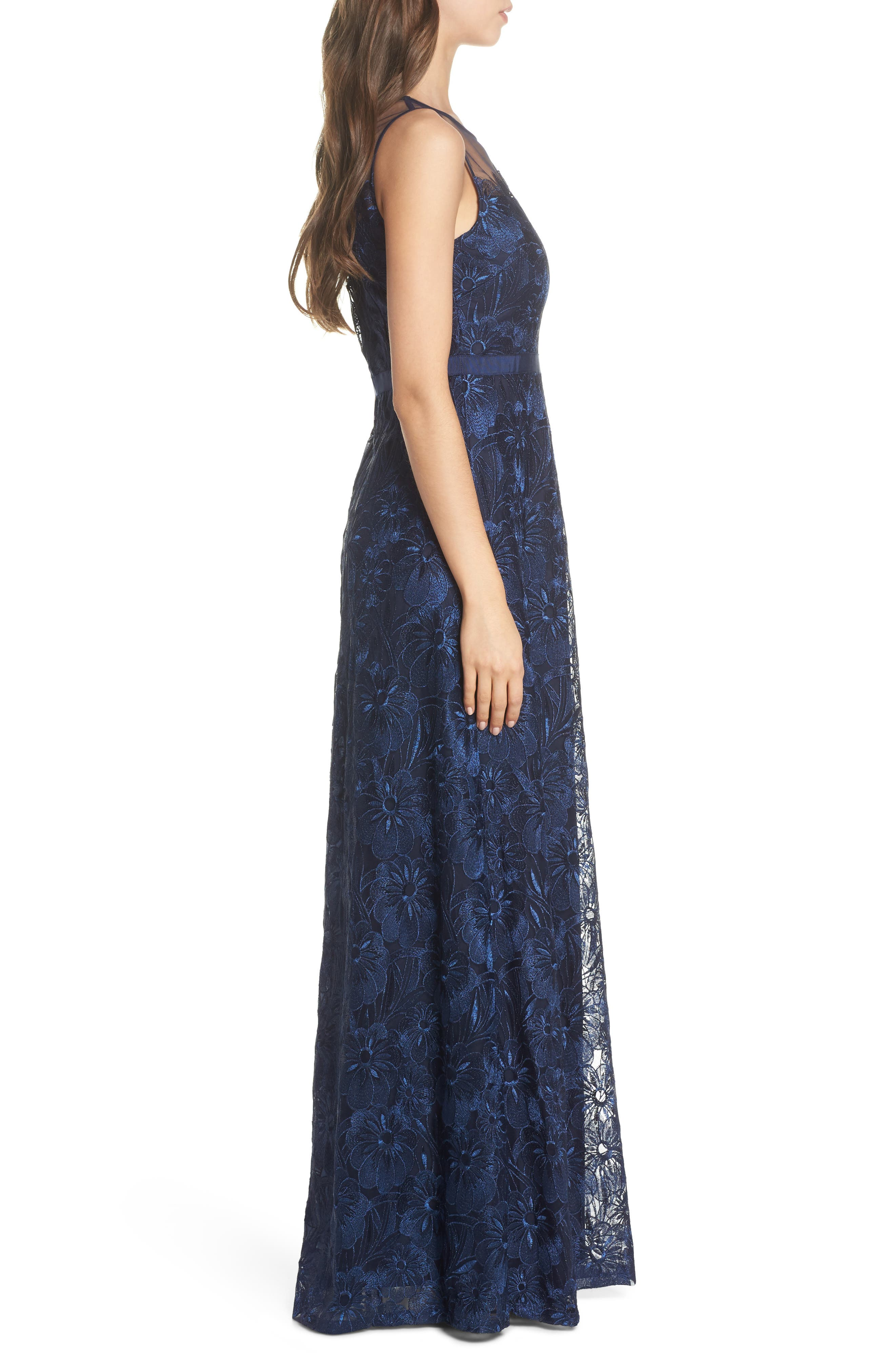 Flower Embroidered Gown,                             Alternate thumbnail 3, color,                             Midnight