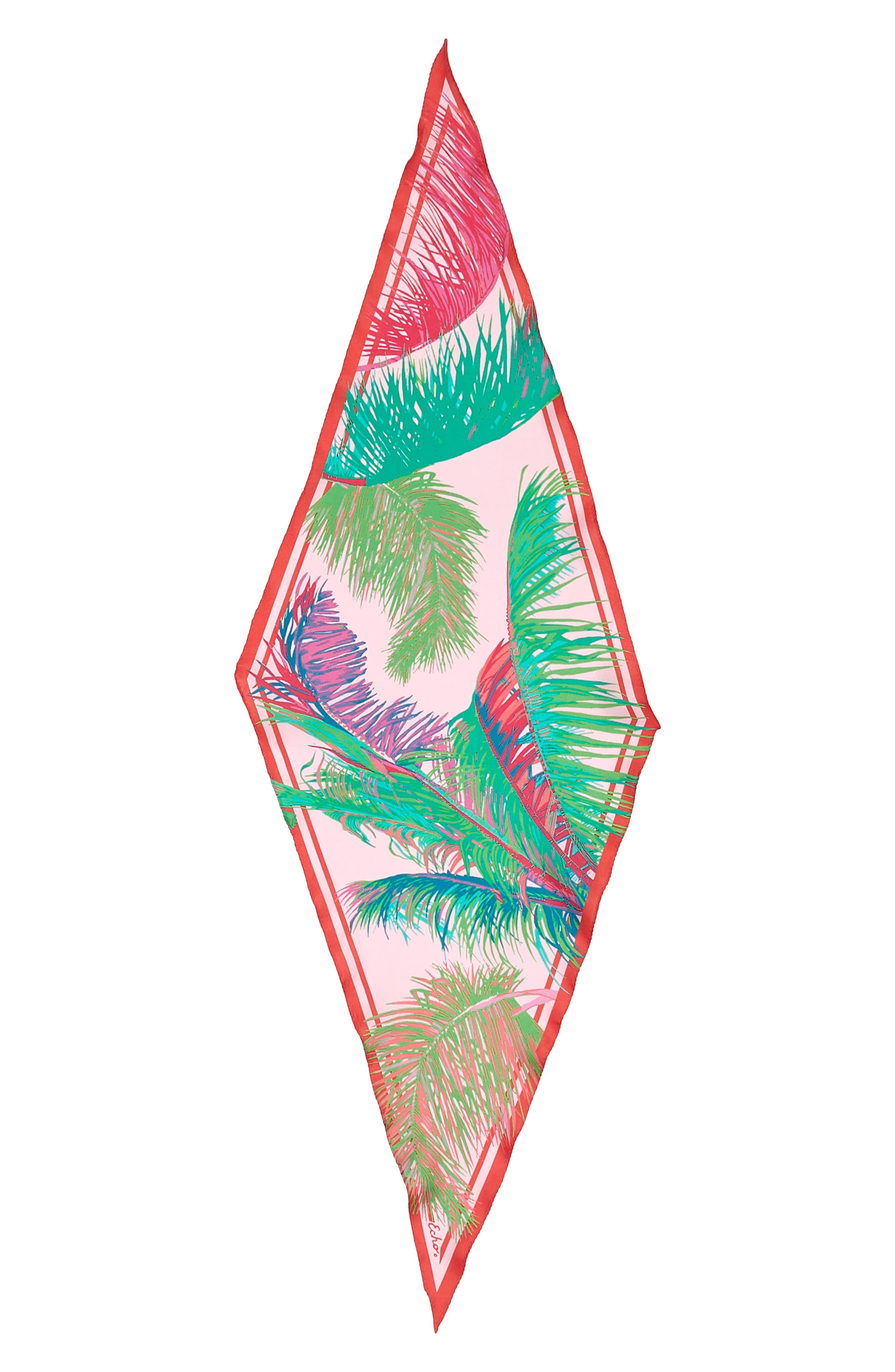 Tasman Palms Diamond Cut Silk Scarf,                             Alternate thumbnail 3, color,                             Pearl Pink