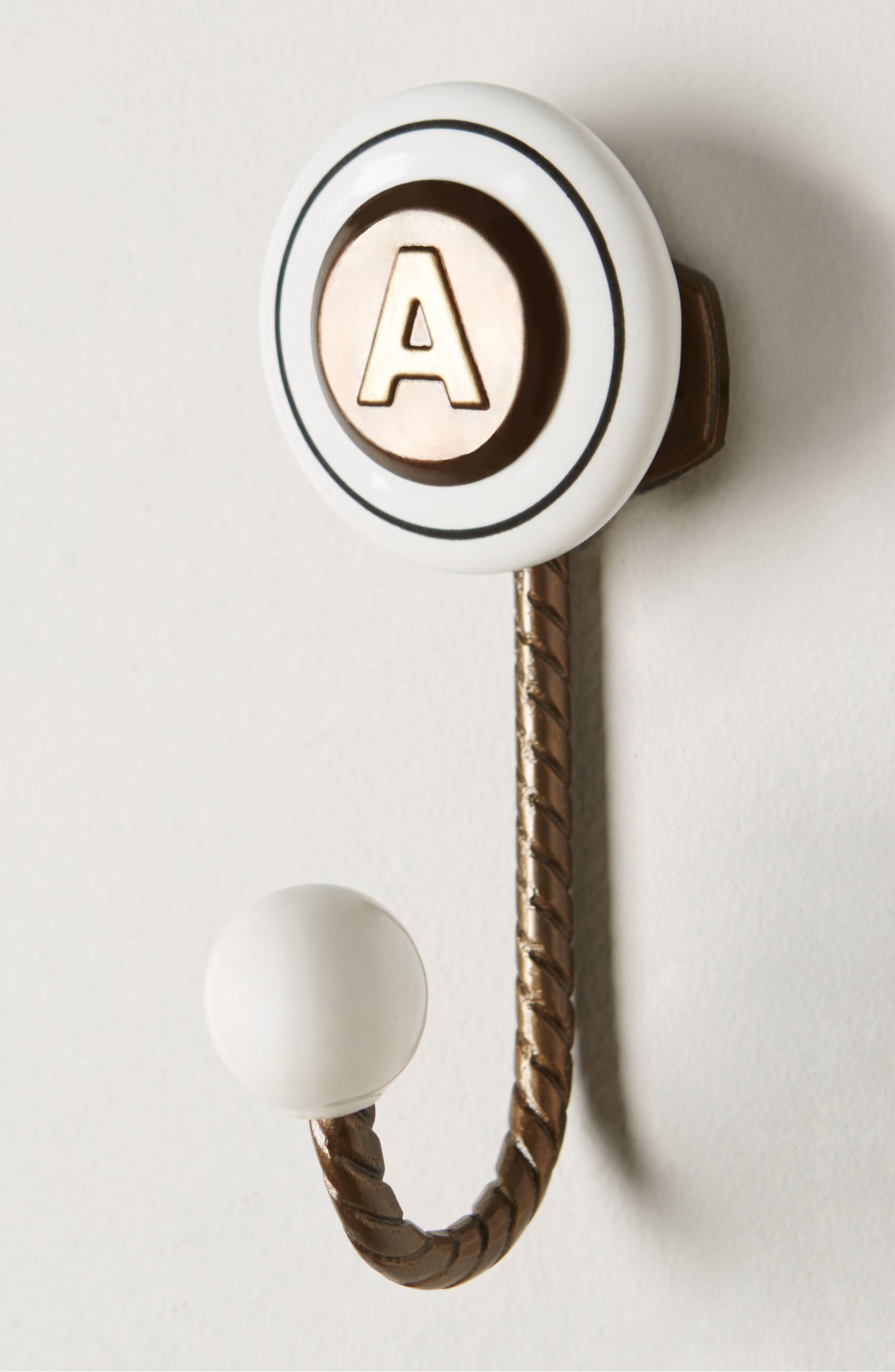 Cachet Monogram Towel Hook,                             Alternate thumbnail 2, color,                             Brown - A