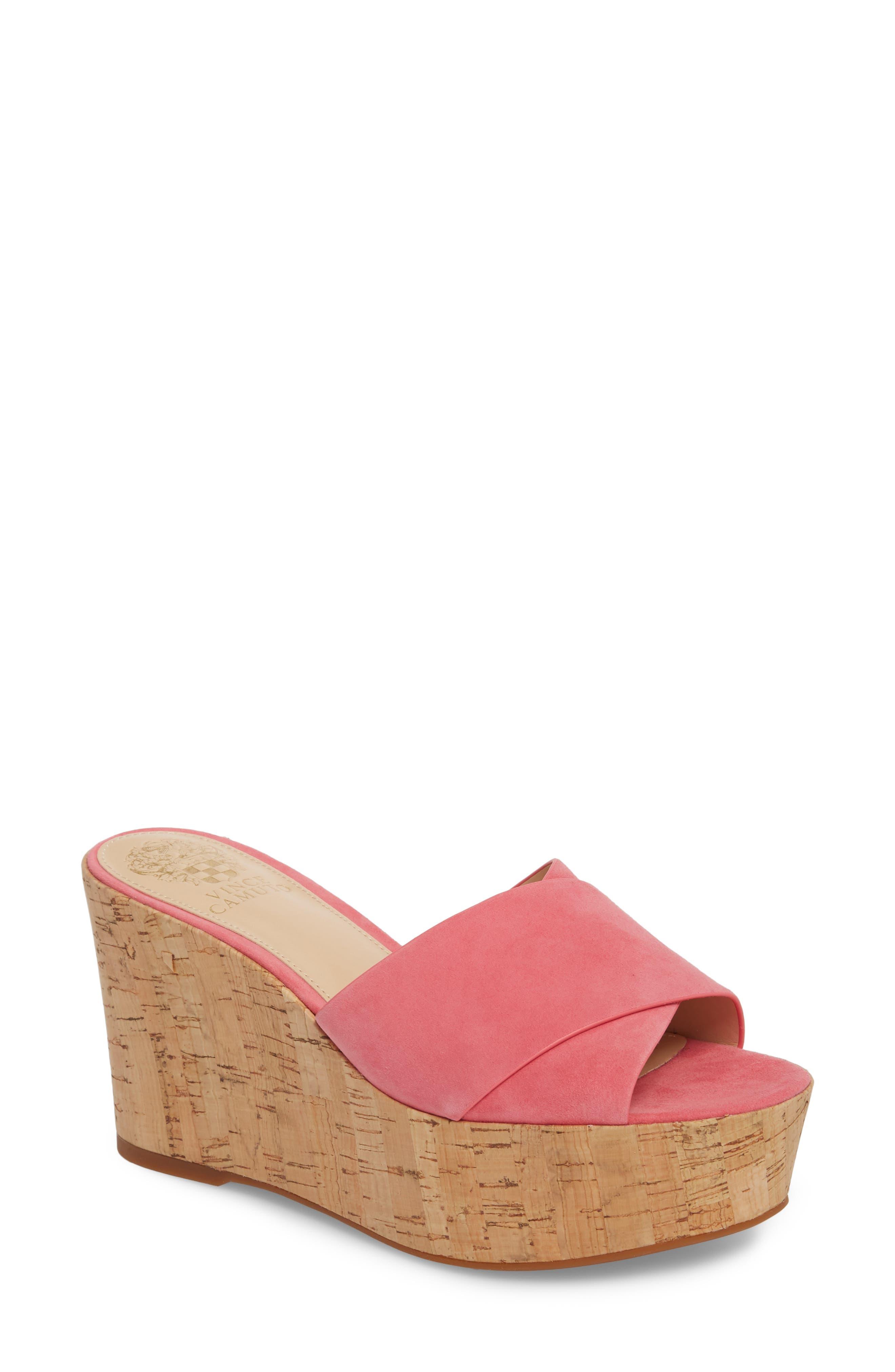Kessina Platform Wedge Mule,                             Main thumbnail 1, color,                             Soft Pink Suede