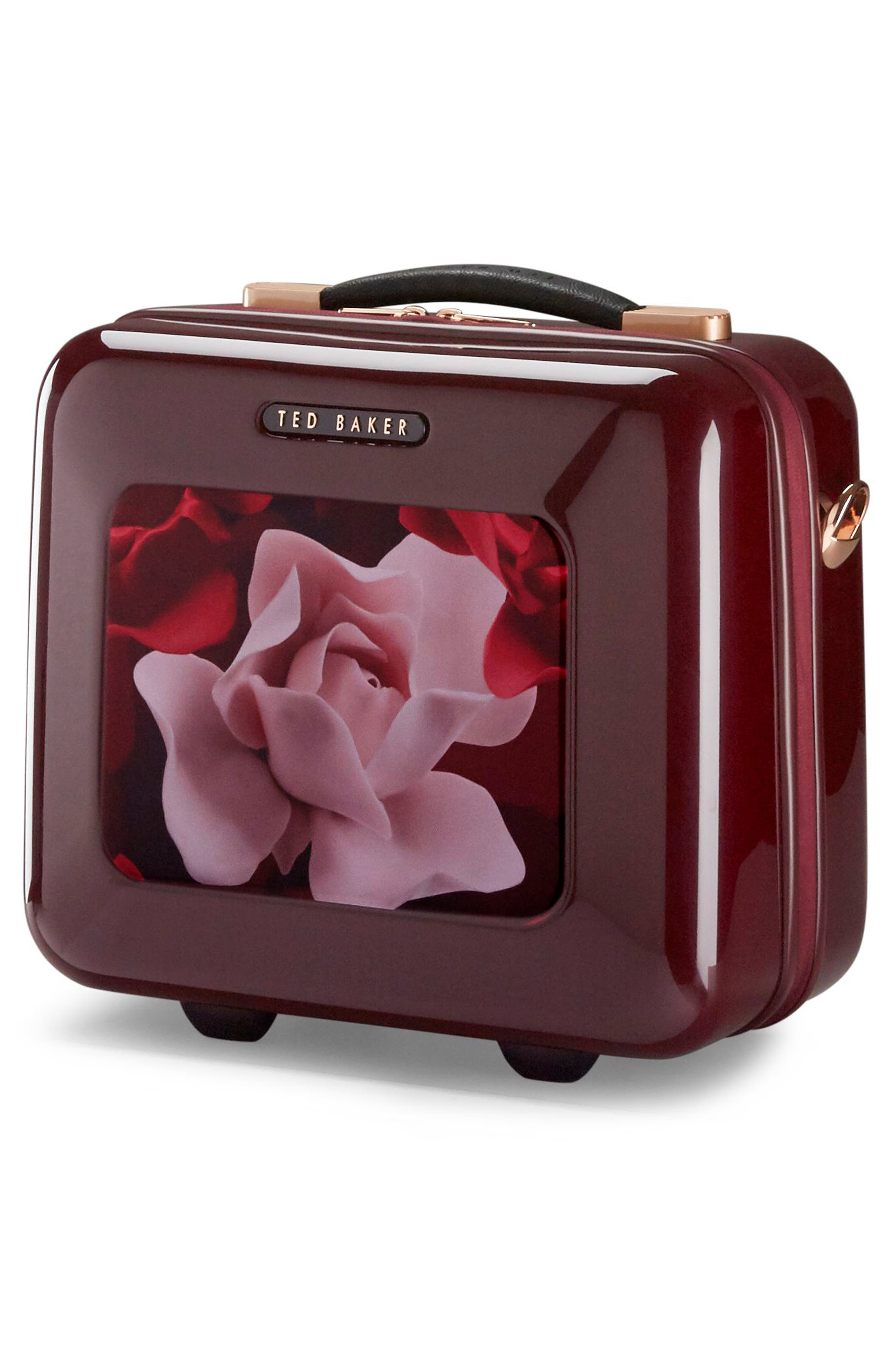 Porcelain Rose Vanity Case,                             Alternate thumbnail 3, color,                             Burgundy