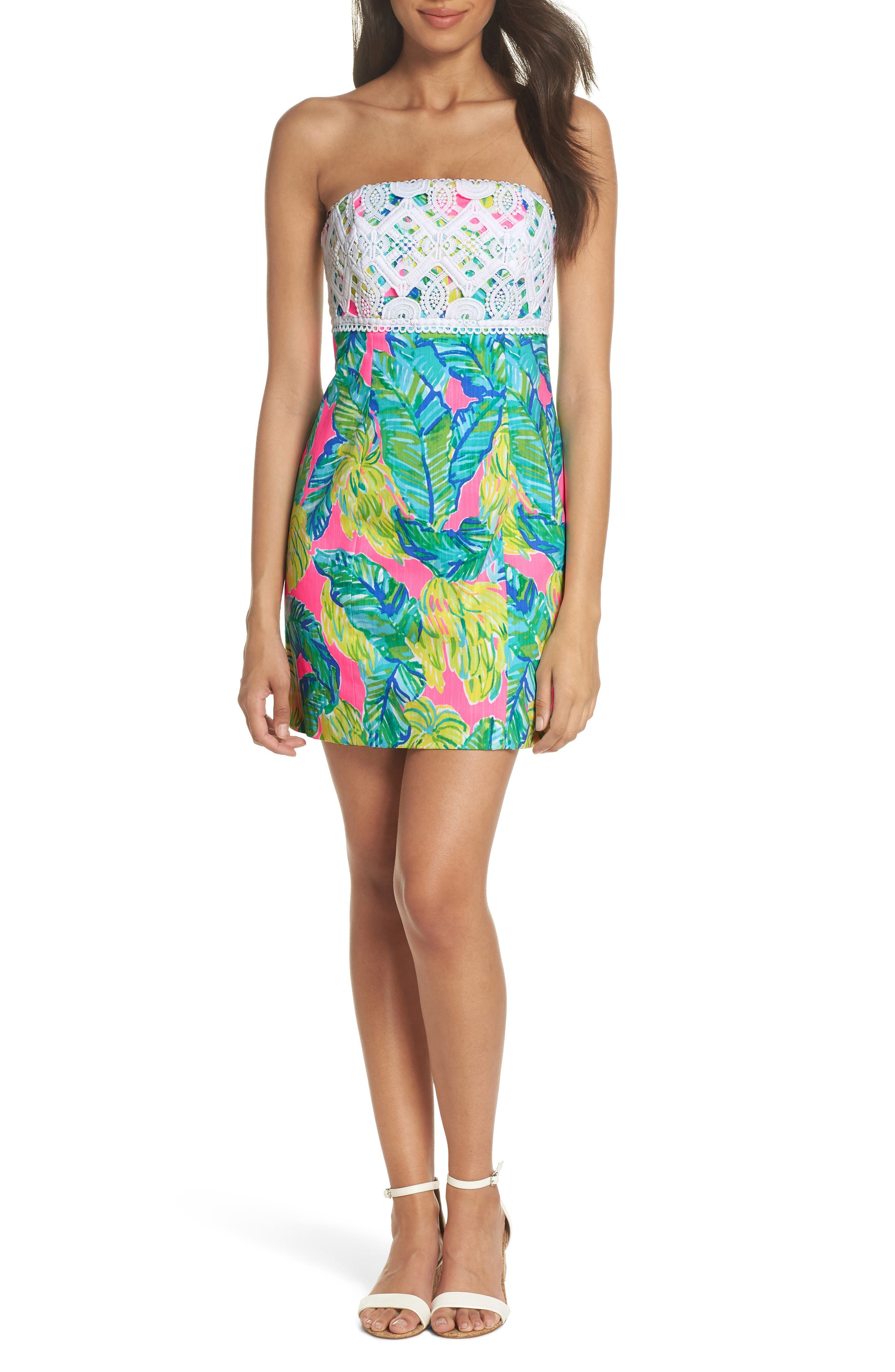 Brynn Strapless Dress,                         Main,                         color, Pink Sunset Local Flavor