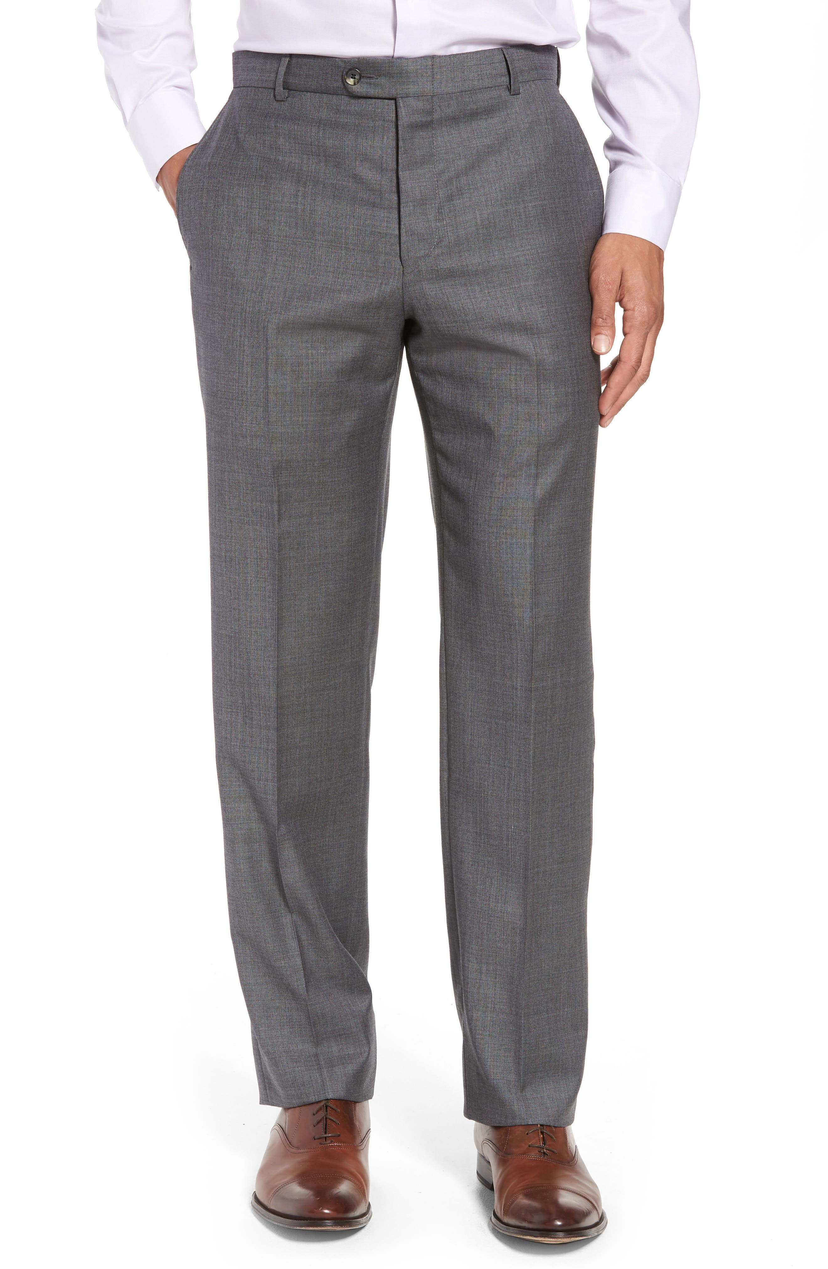 Classic B Fit Solid Wool Suit,                             Alternate thumbnail 6, color,                             Grey Sharkskin