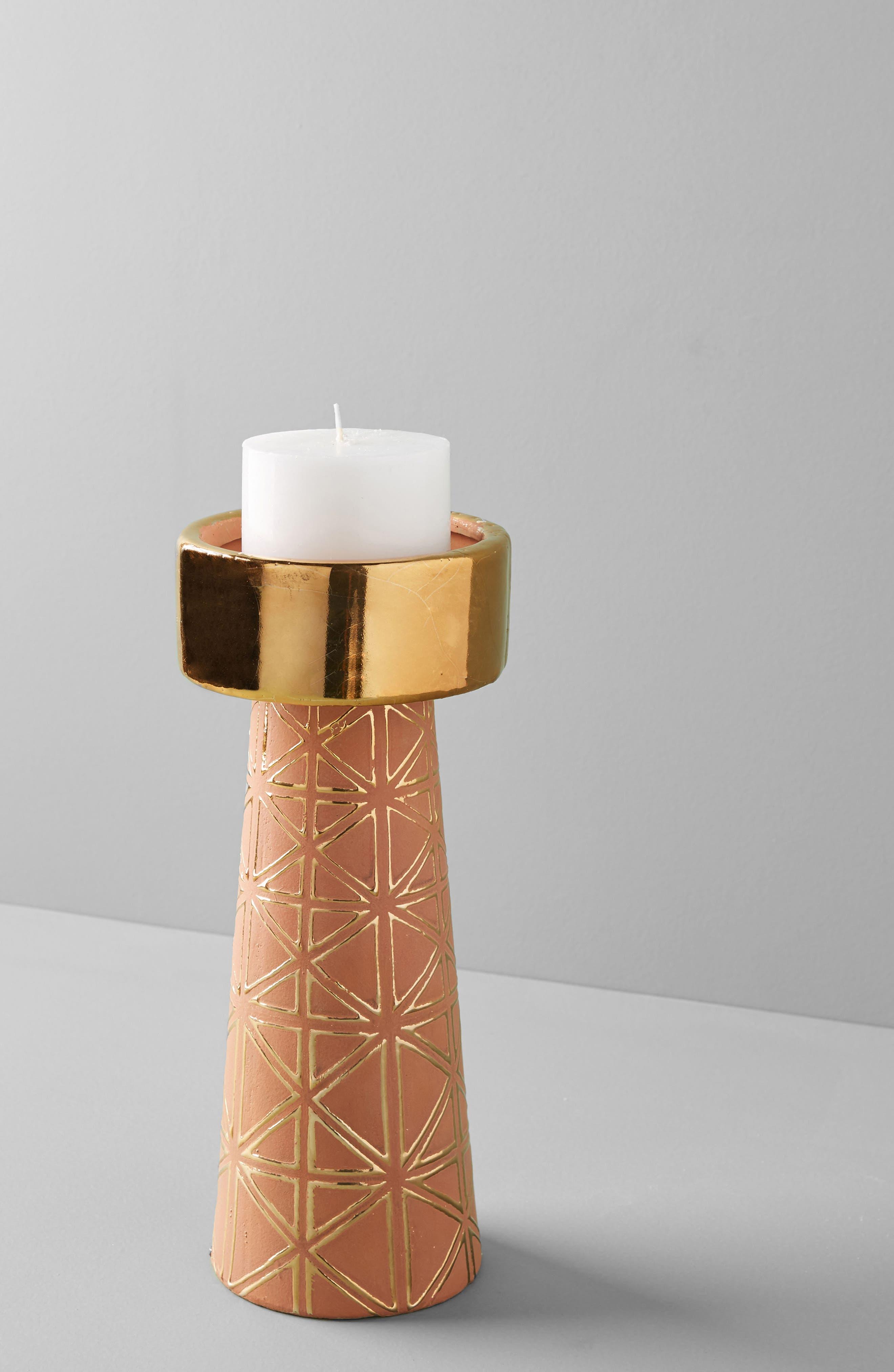 Geo Pillar Candleholder,                             Alternate thumbnail 2, color,                             Brown - Small
