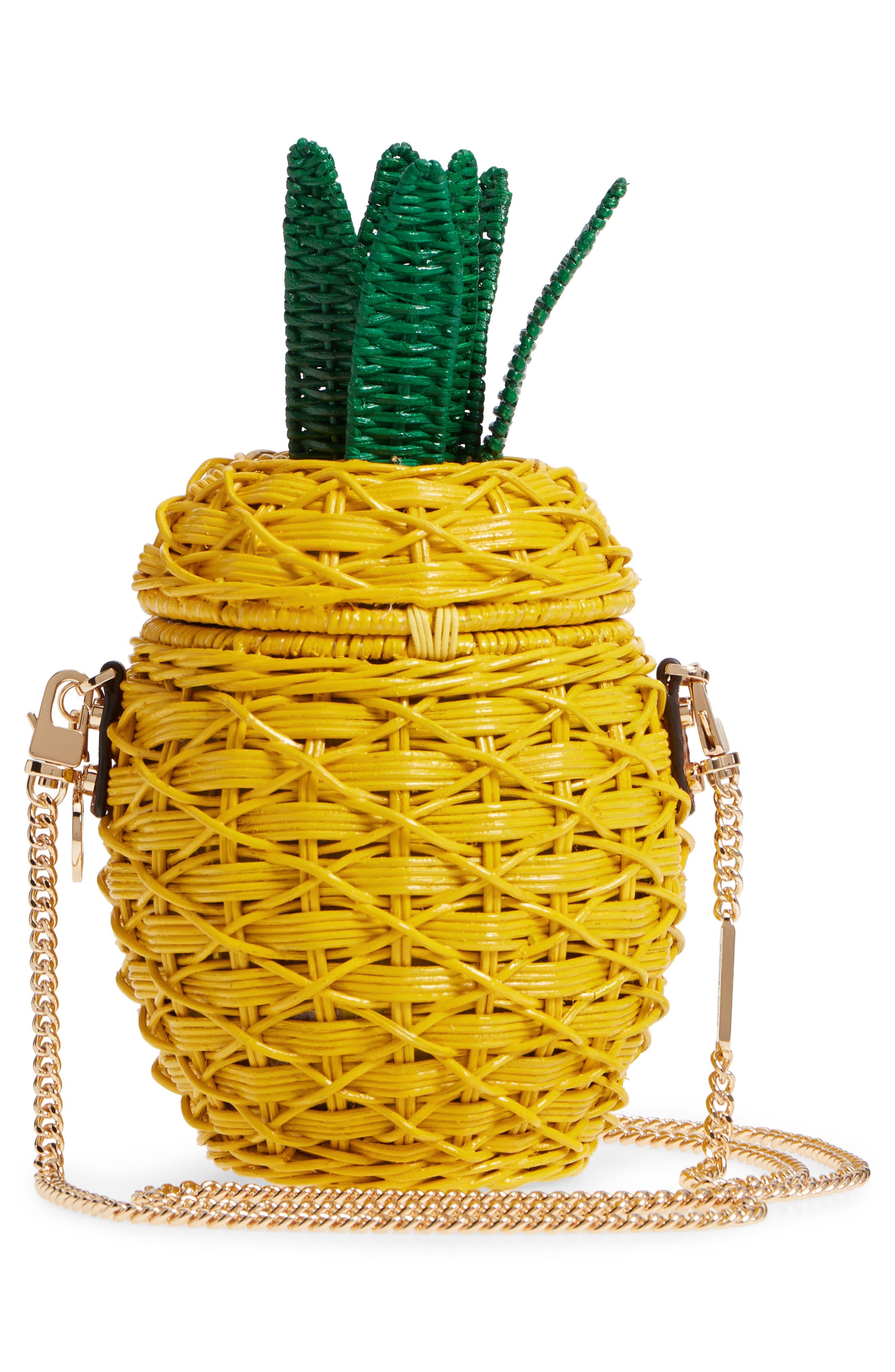 MICHAEL Michael Kors Wicker Pineapple Shoulder Bag,                             Alternate thumbnail 3, color,                             Sunflower
