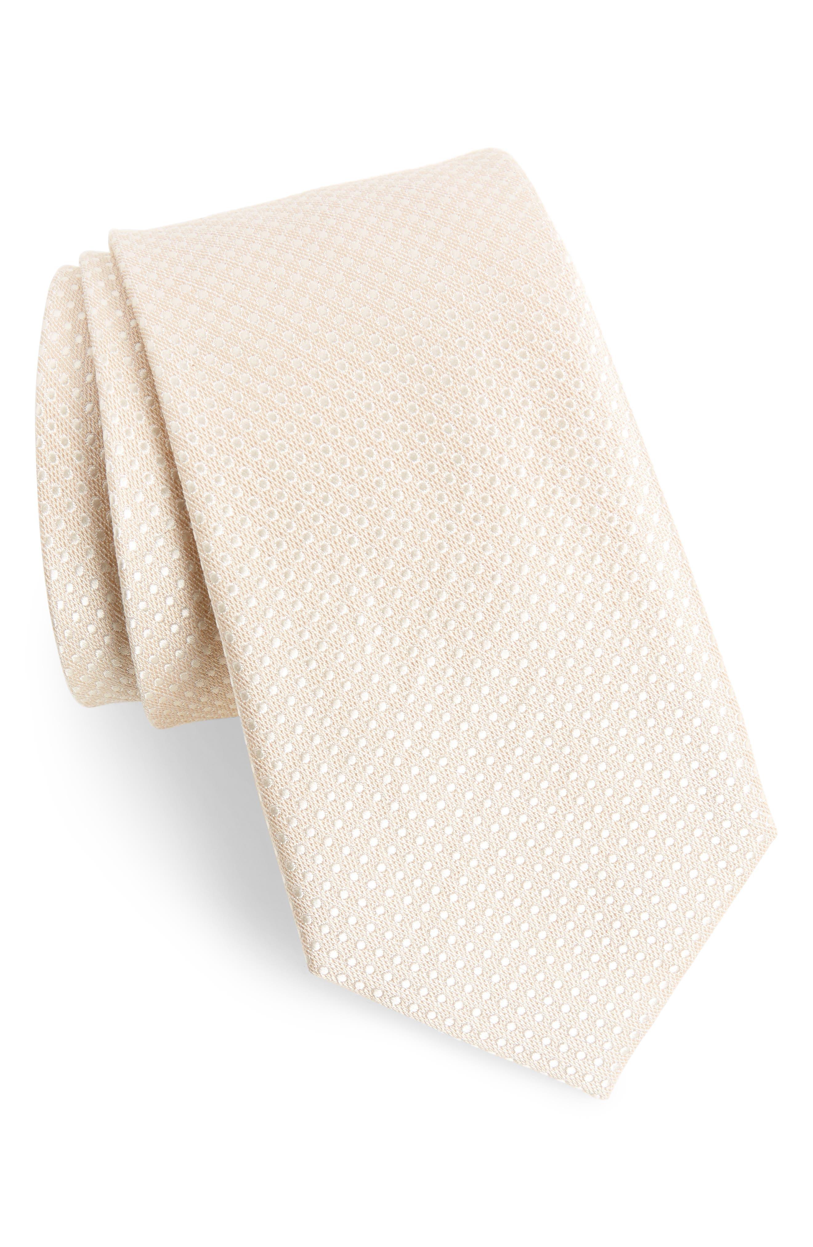 The Tie Bar Dotten Dot Silk & Cotton Tie (X-Long)