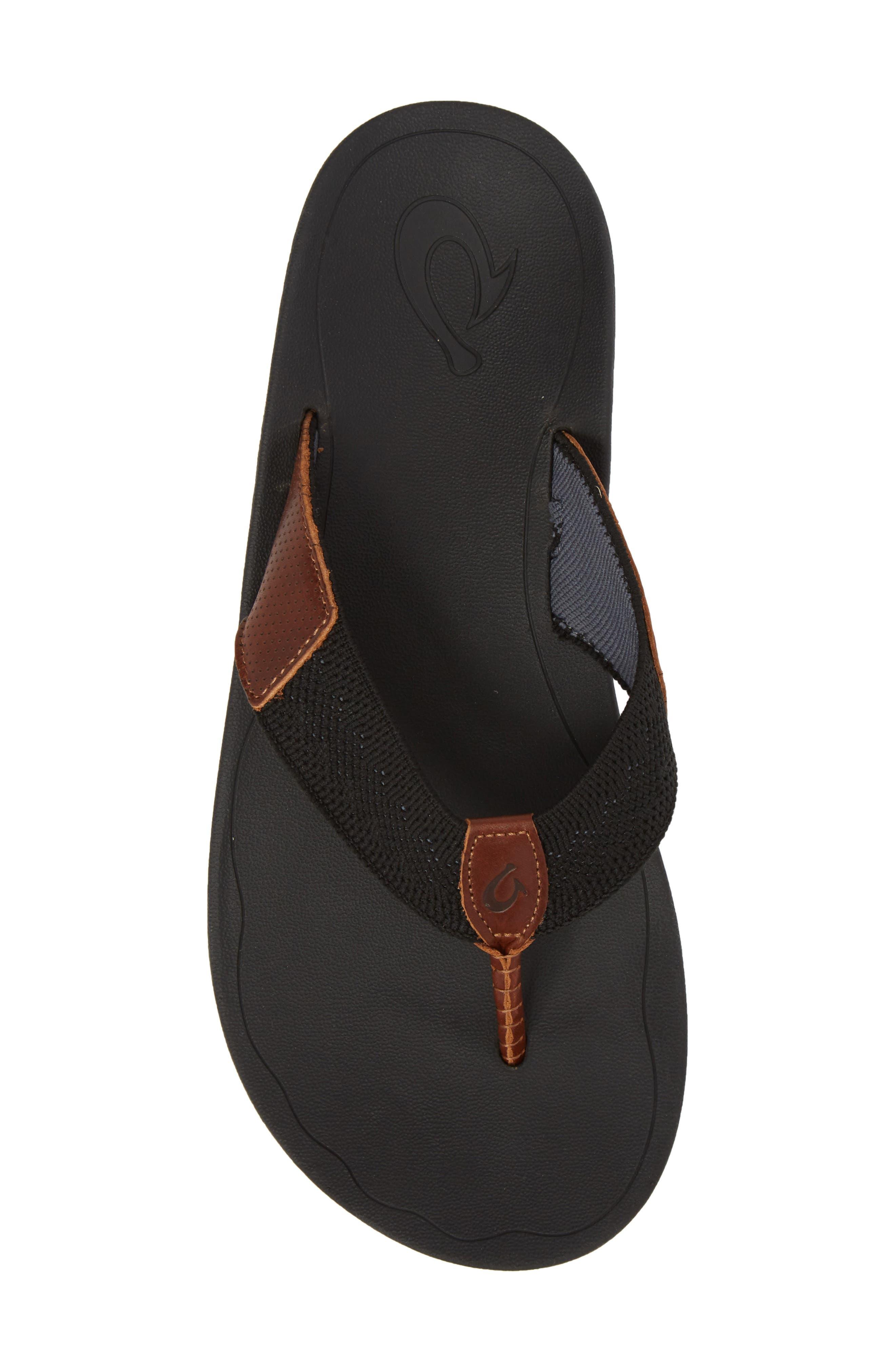Nohona Ulana Flip Flop,                             Alternate thumbnail 5, color,                             Black/ Black Leather