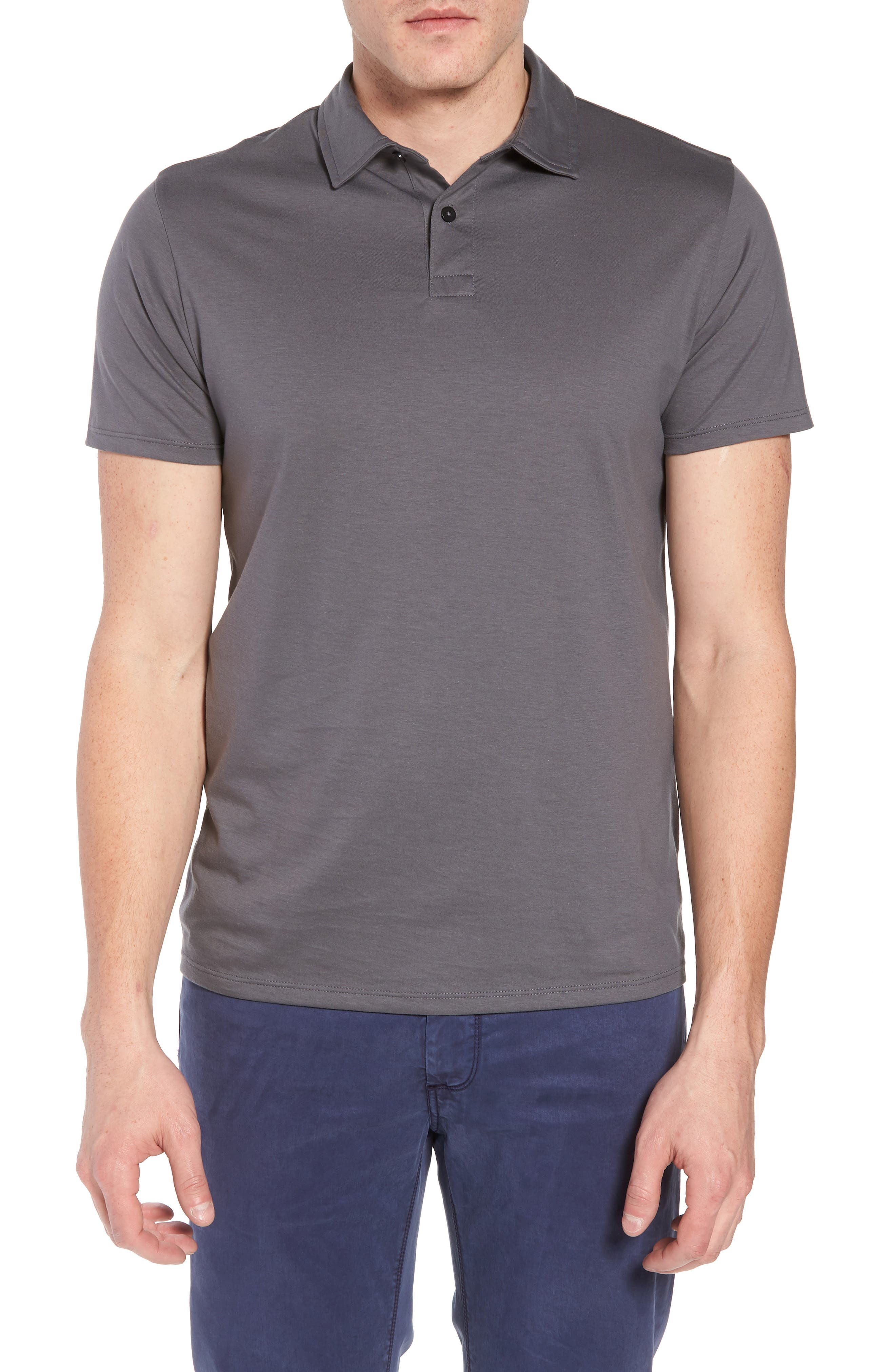 Refined Jersey Polo,                         Main,                         color, Thundercloud