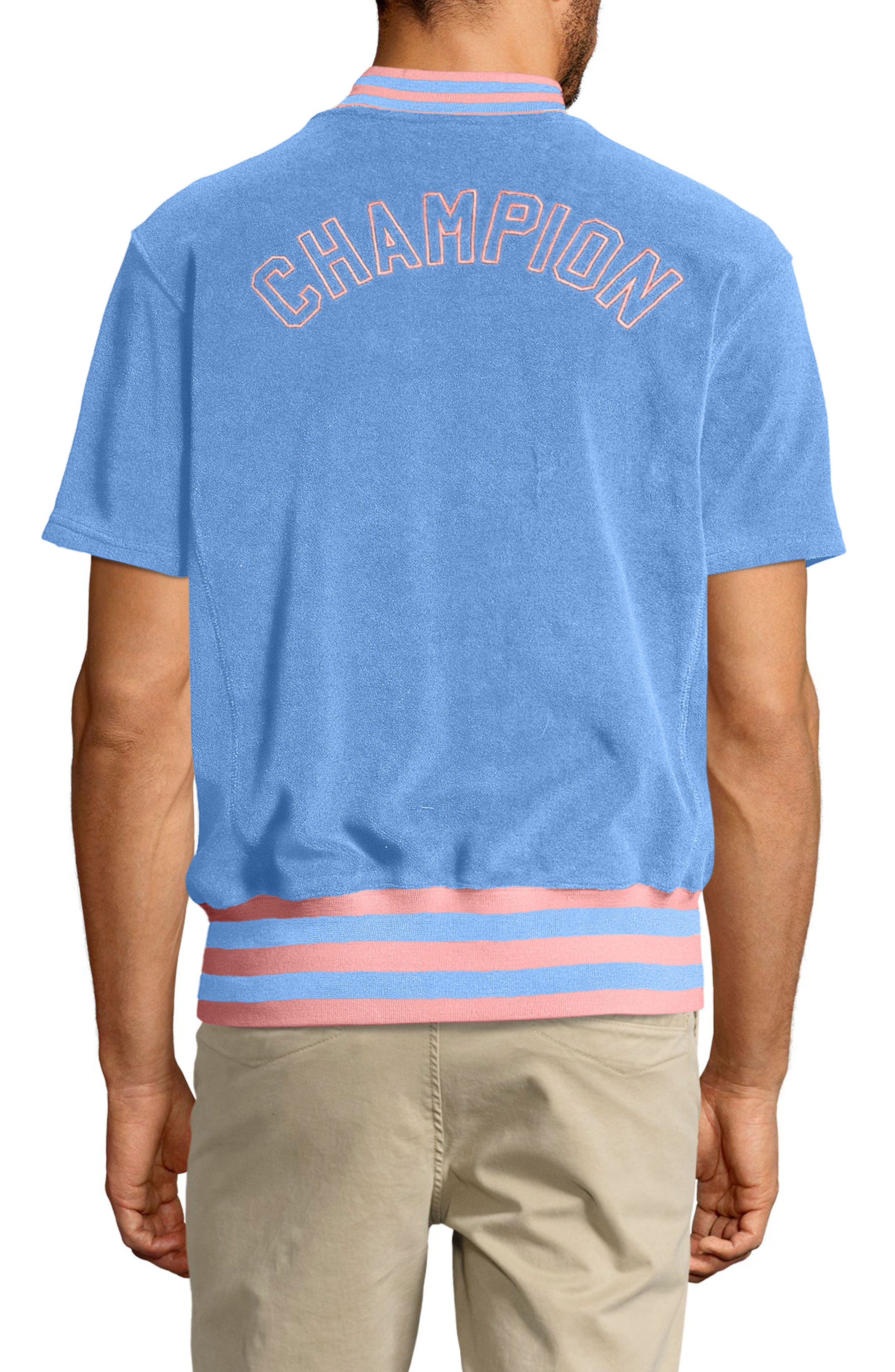 Sponge Terry Stripe Full Zip Sweatshirt,                             Alternate thumbnail 2, color,                             Swiss Blue