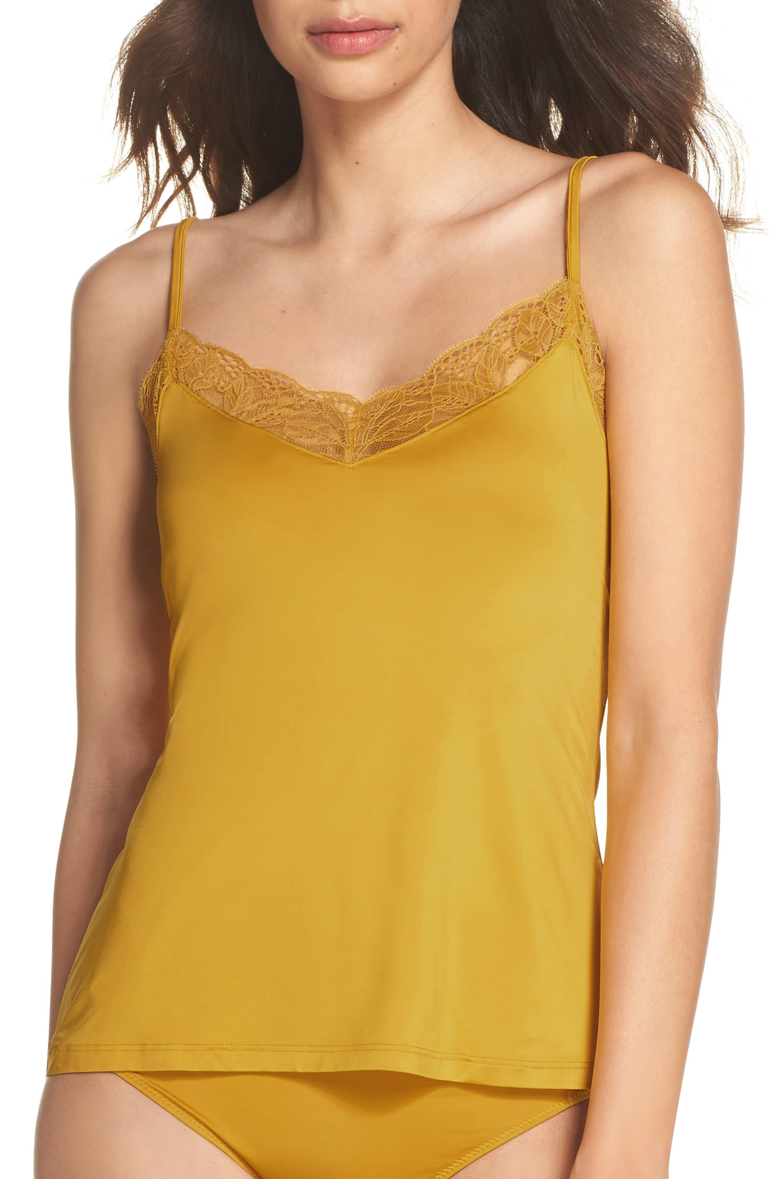 Fleur Satin Camisole,                         Main,                         color, Gold