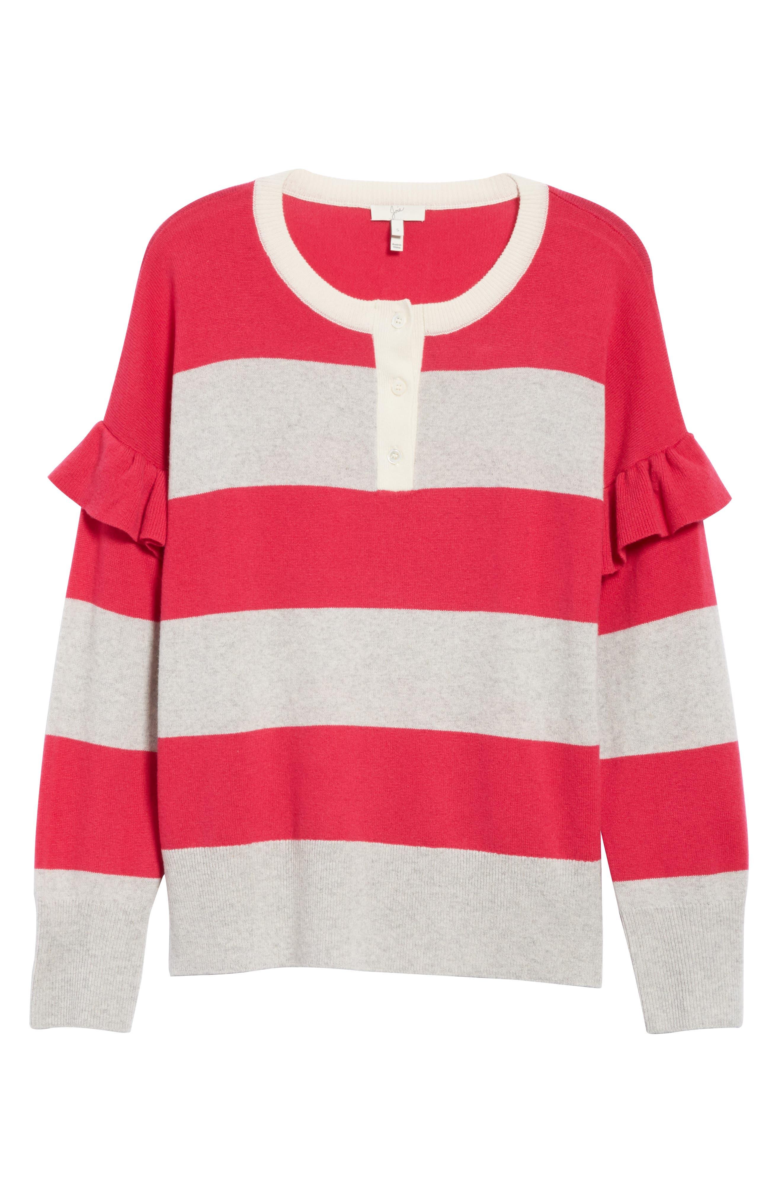 Inghin Stripe Wool & Cashmere Sweater,                             Alternate thumbnail 6, color,                             Hacienda/ Heather Grey