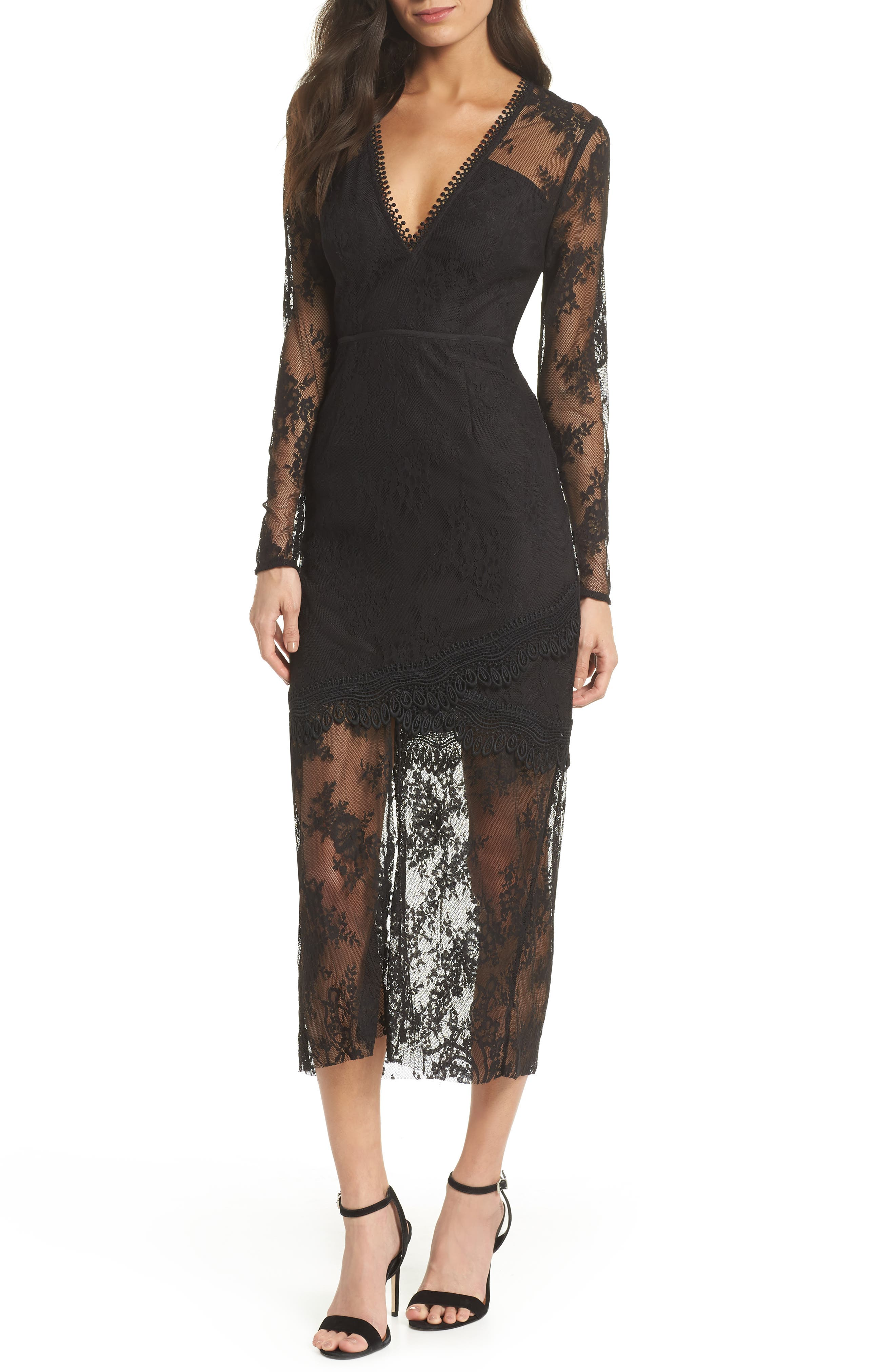 True Chemistry Lace Sheath Dress,                             Main thumbnail 1, color,                             Black