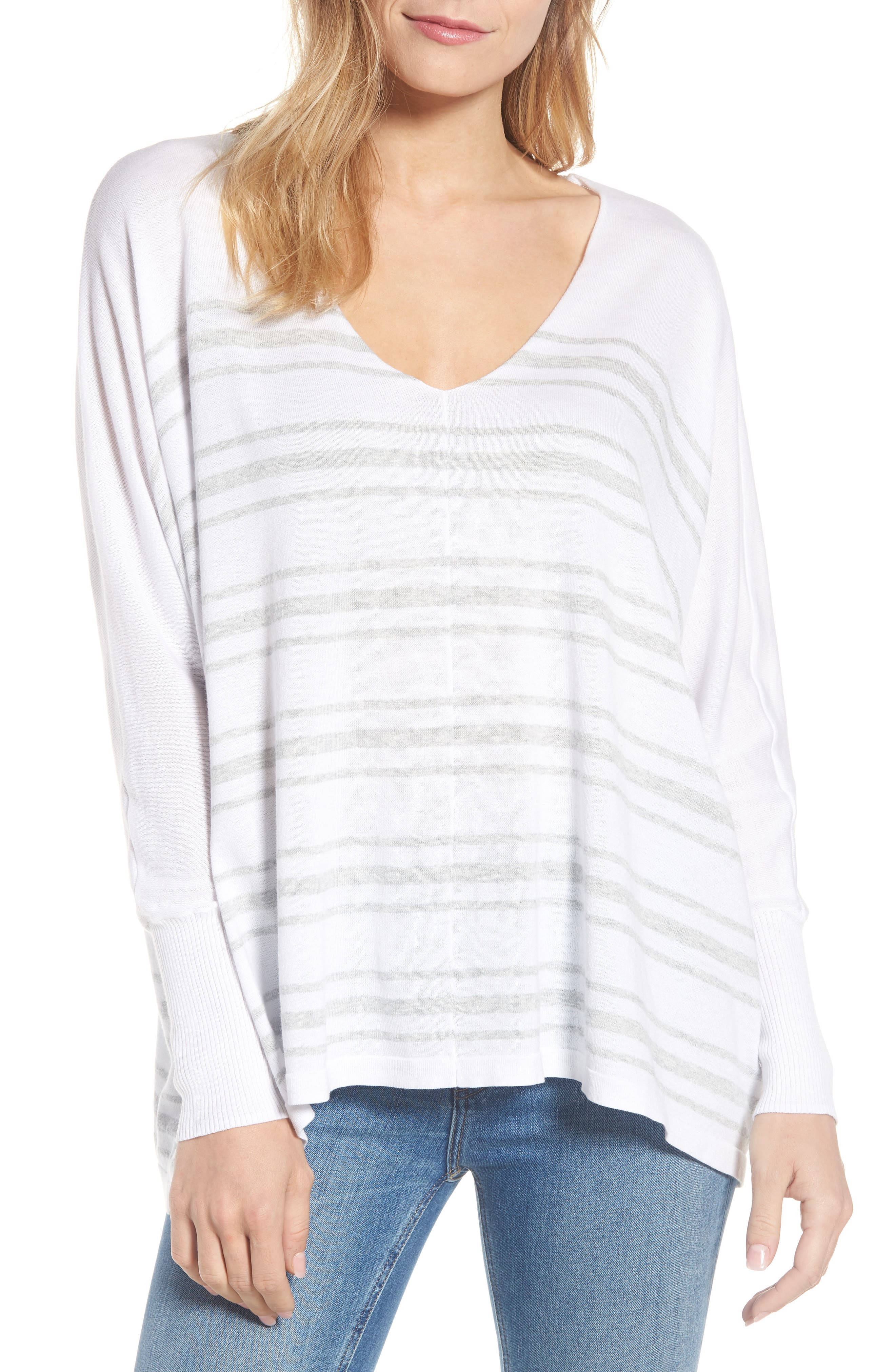 Oversize Sleeve Stripe V-Neck Sweater,                             Main thumbnail 1, color,                             Warm White Pebble Grey Mix