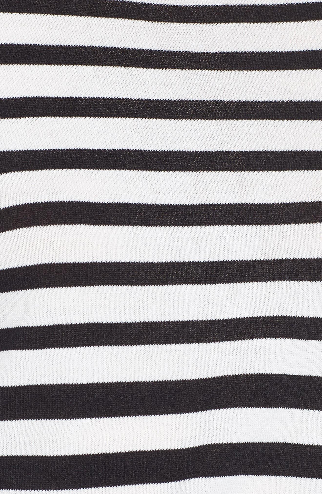 Marin Stripe Ruffle Sleeve Sweater,                             Alternate thumbnail 6, color,                             White/Black