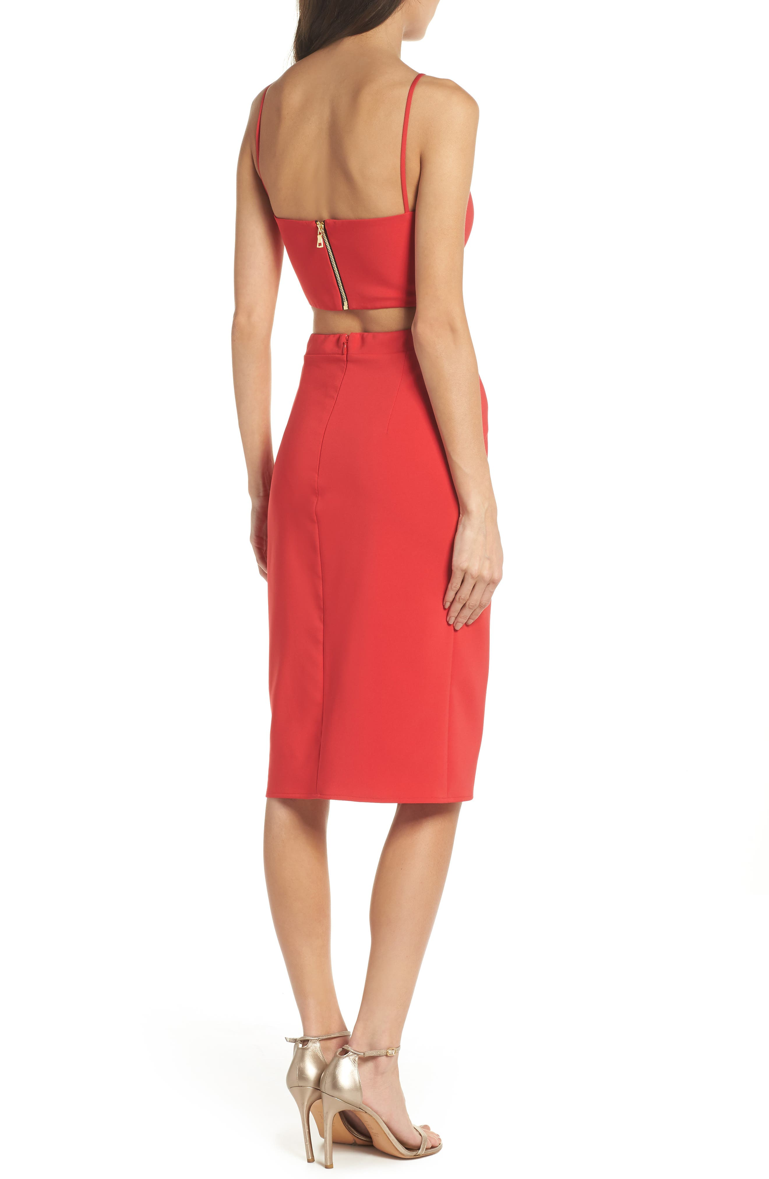 Melani Strappy Cutout Dress,                             Alternate thumbnail 2, color,                             Red