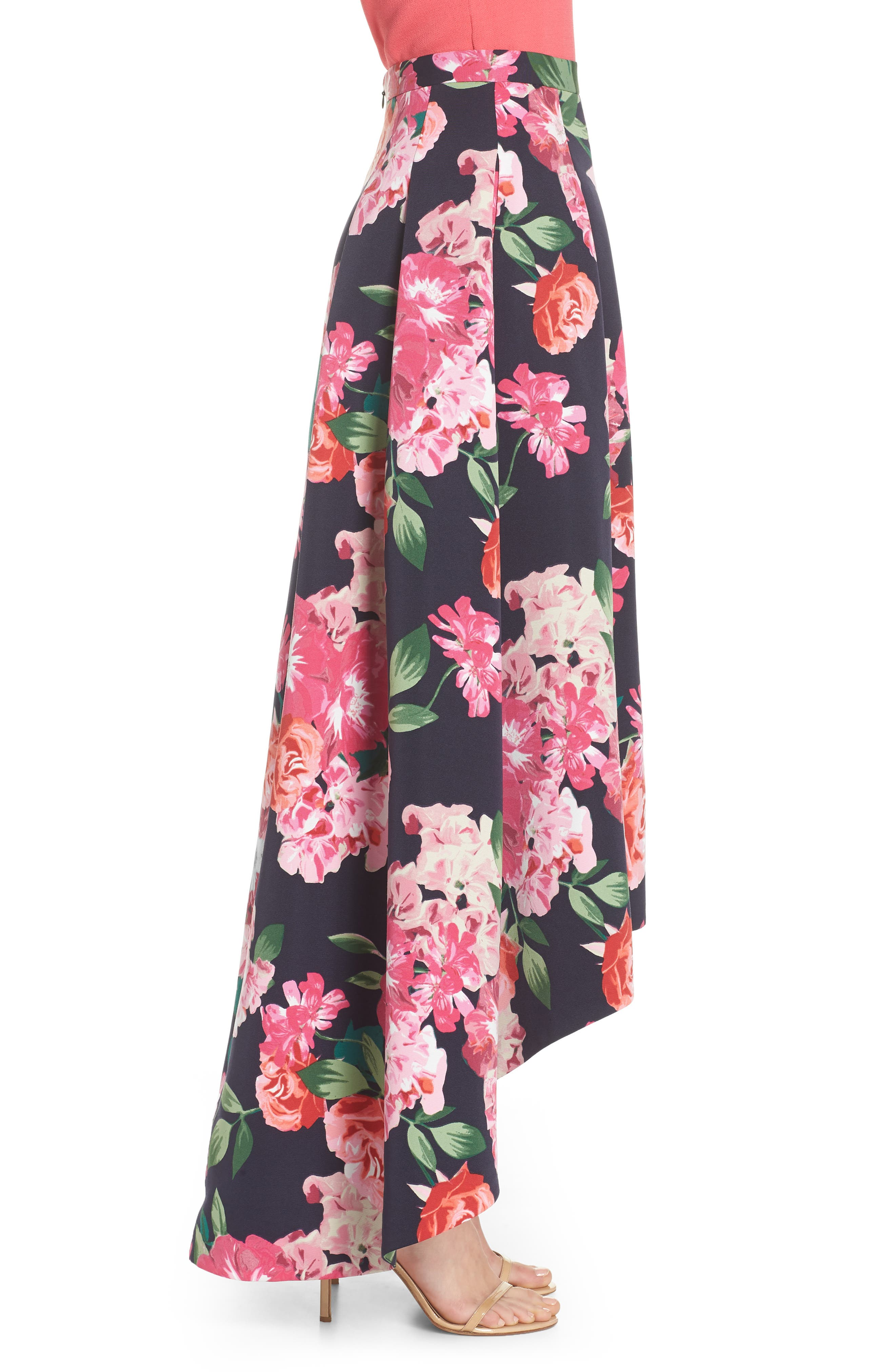 Floral High/Low Skirt,                             Alternate thumbnail 4, color,                             Navy/ Pink