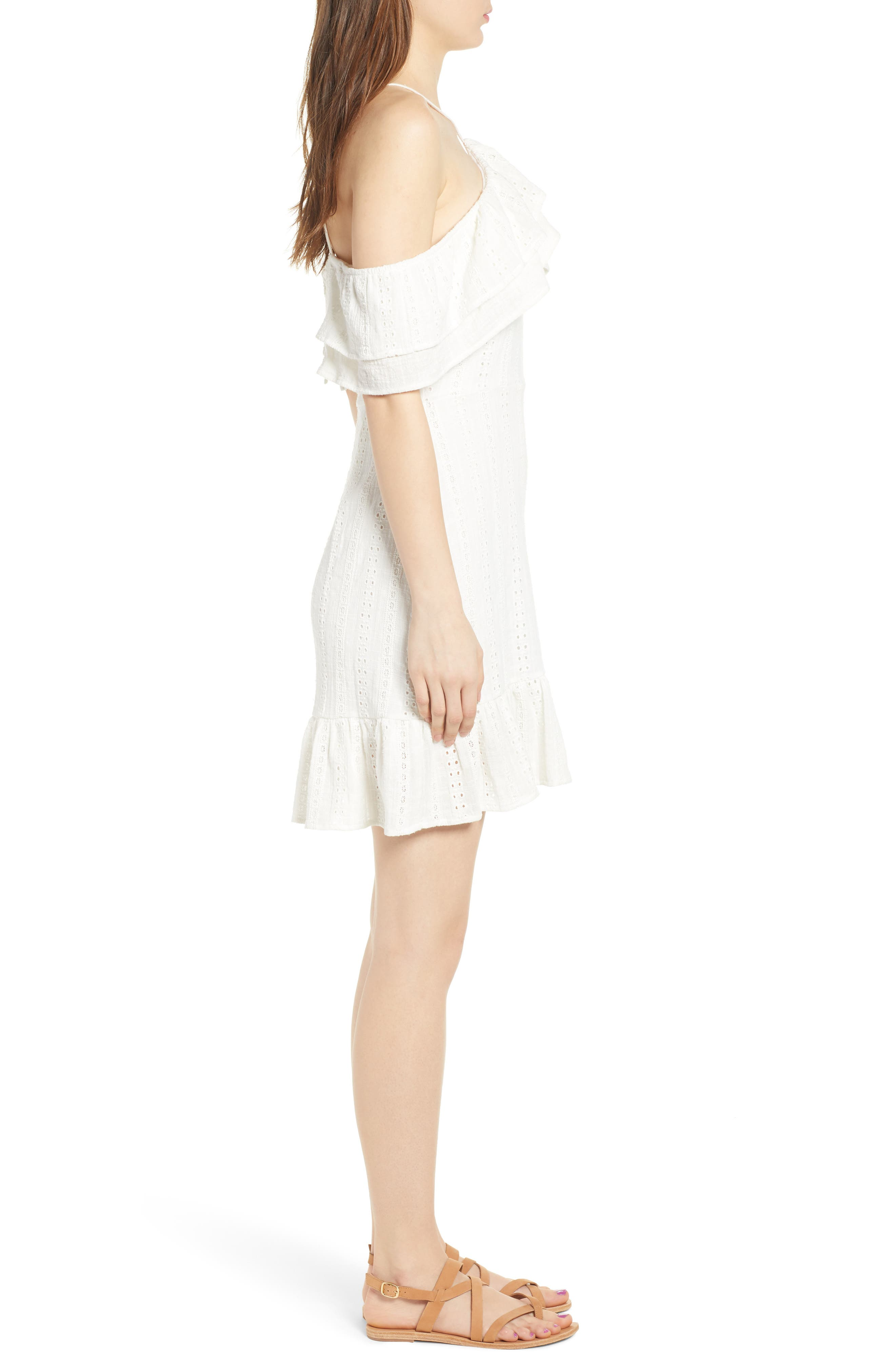 Daisy Eyelet Minidress,                             Alternate thumbnail 4, color,                             White