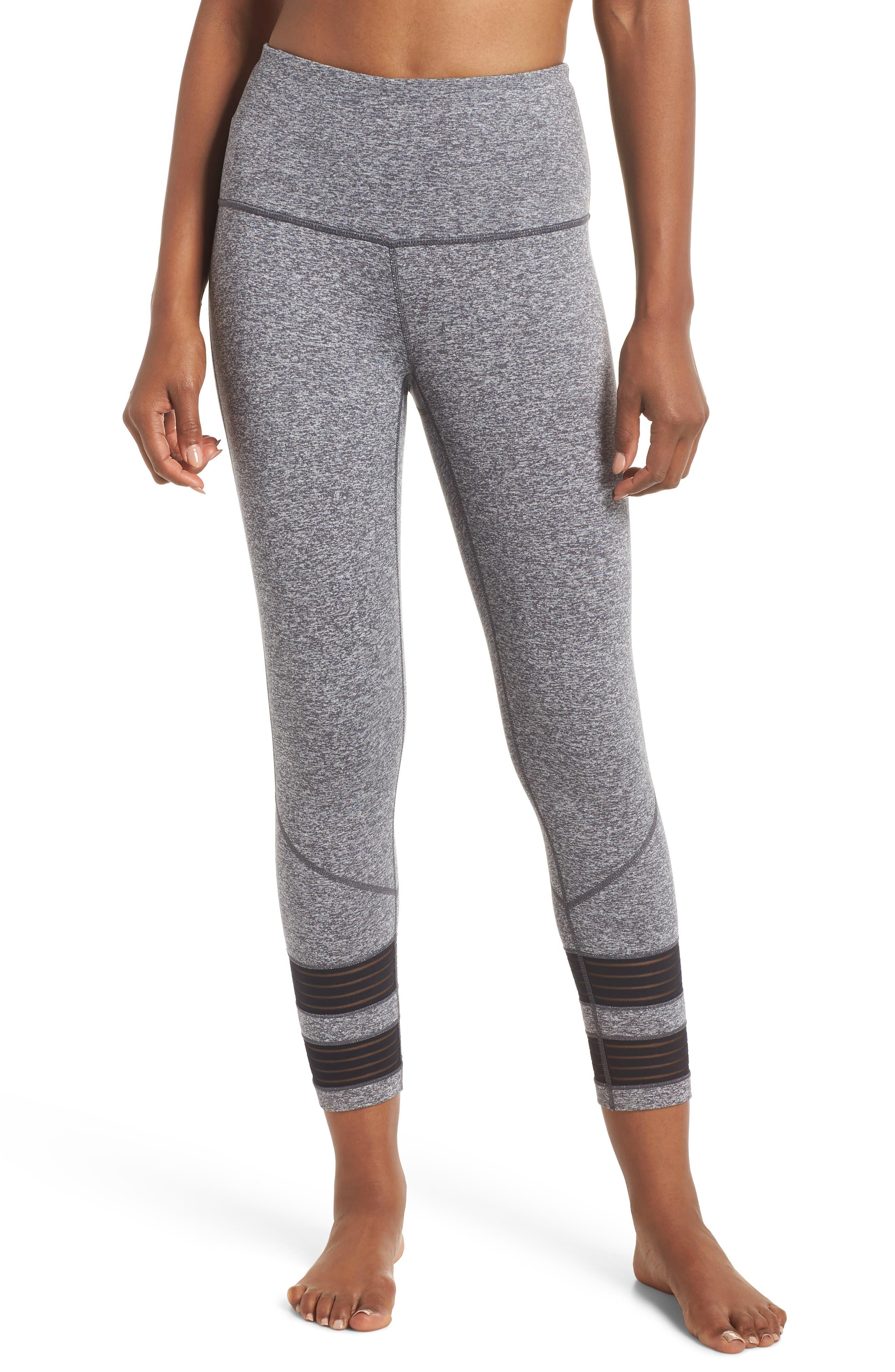 High Waist Twin Crop Leggings,                         Main,                         color, Grey Graphite