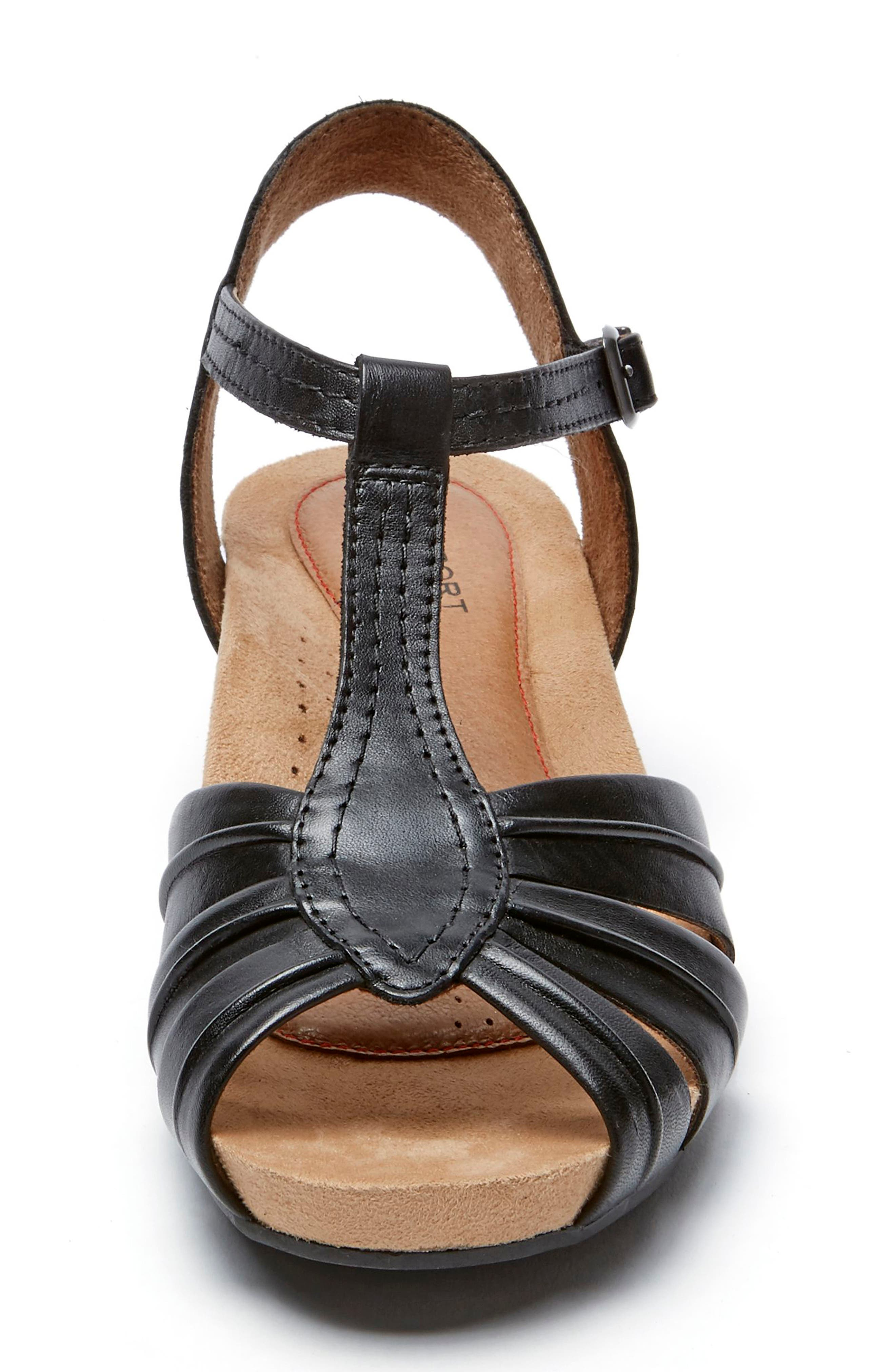Hollywood Pleat Wedge Sandal,                             Alternate thumbnail 3, color,                             Black Leather