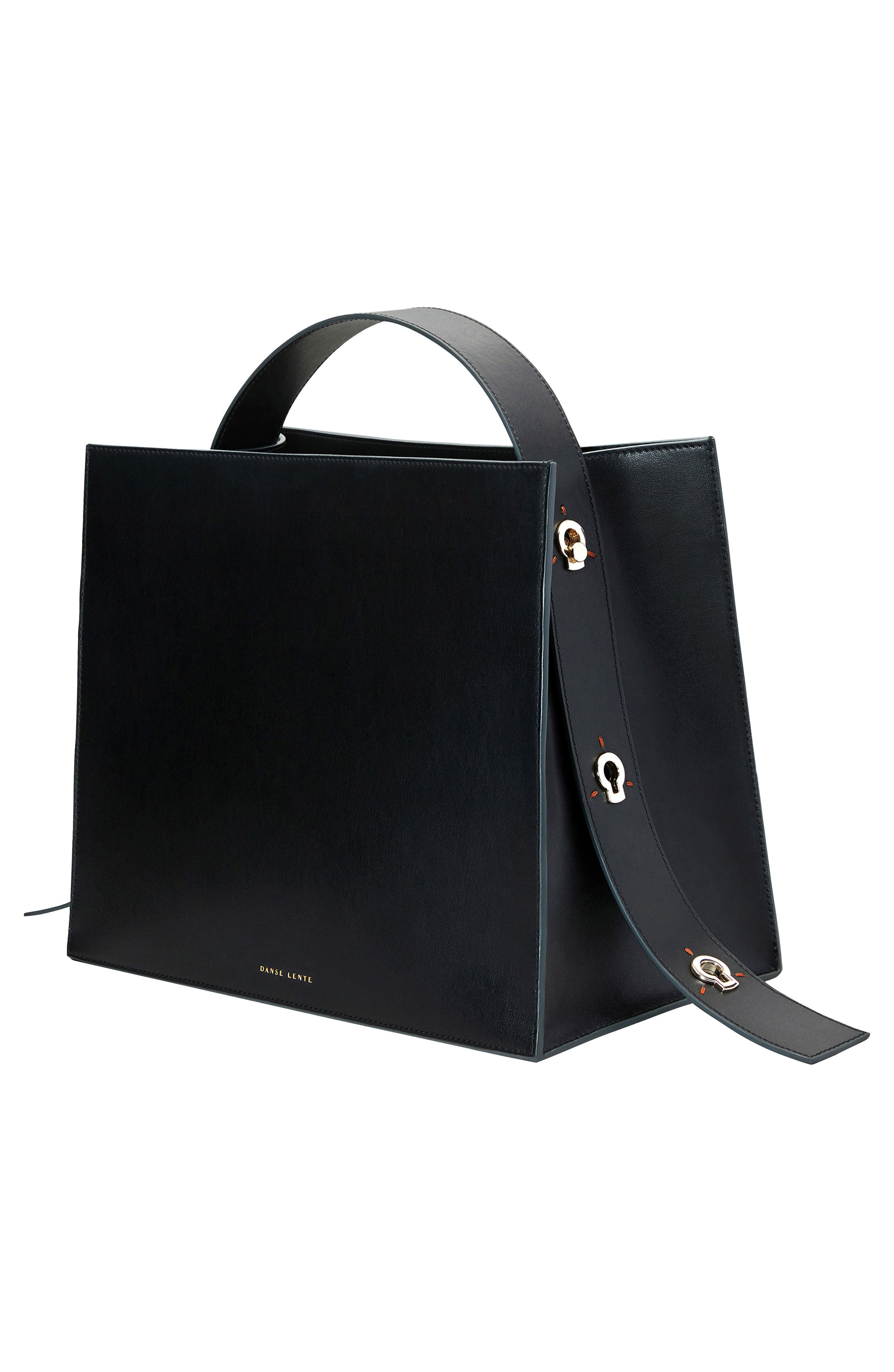 Young Leather Tote Bag,                             Alternate thumbnail 6, color,                             Black