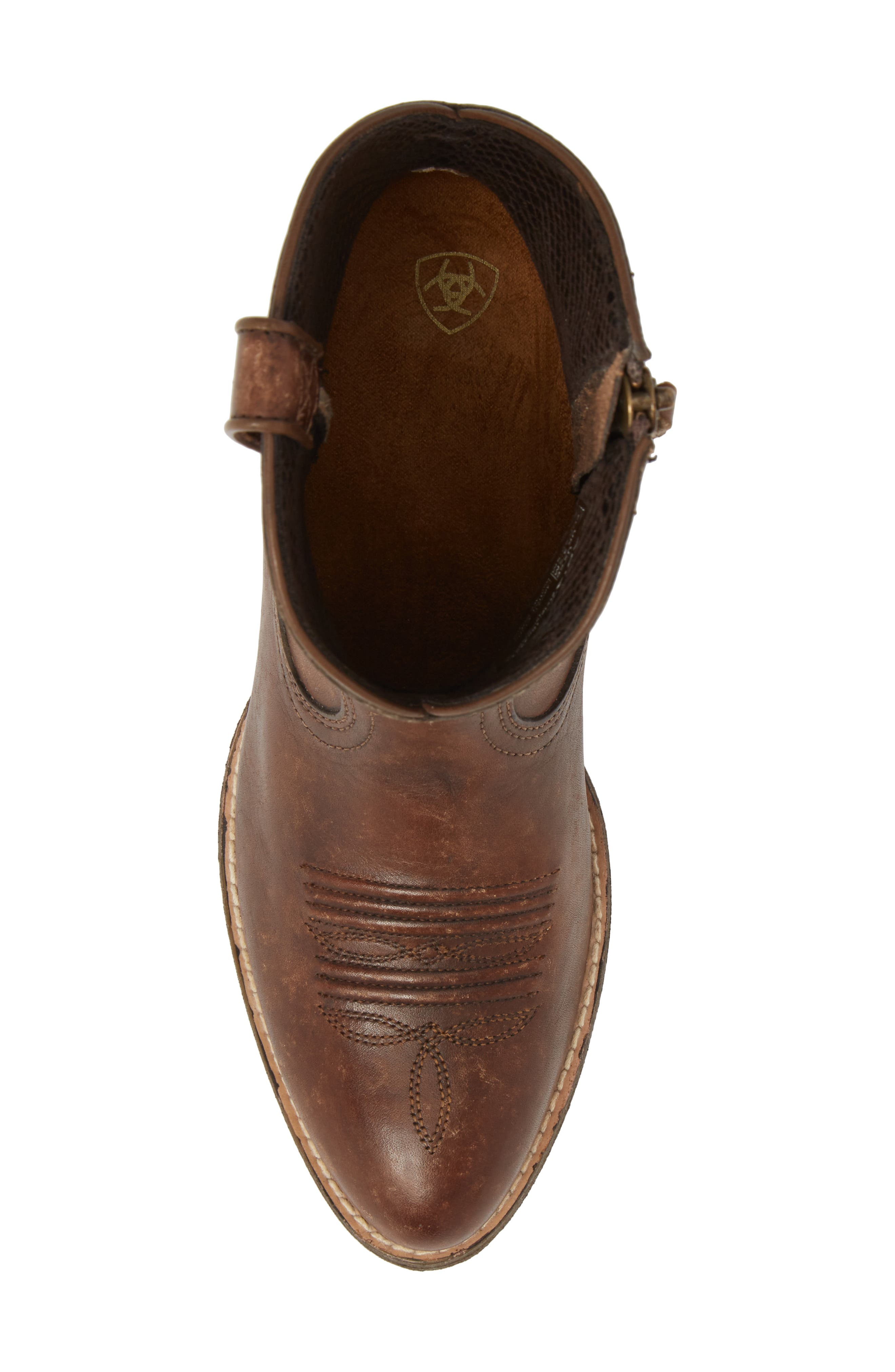 Darlin Short Western Boot,                             Alternate thumbnail 4, color,                             Distressed Brown Leather