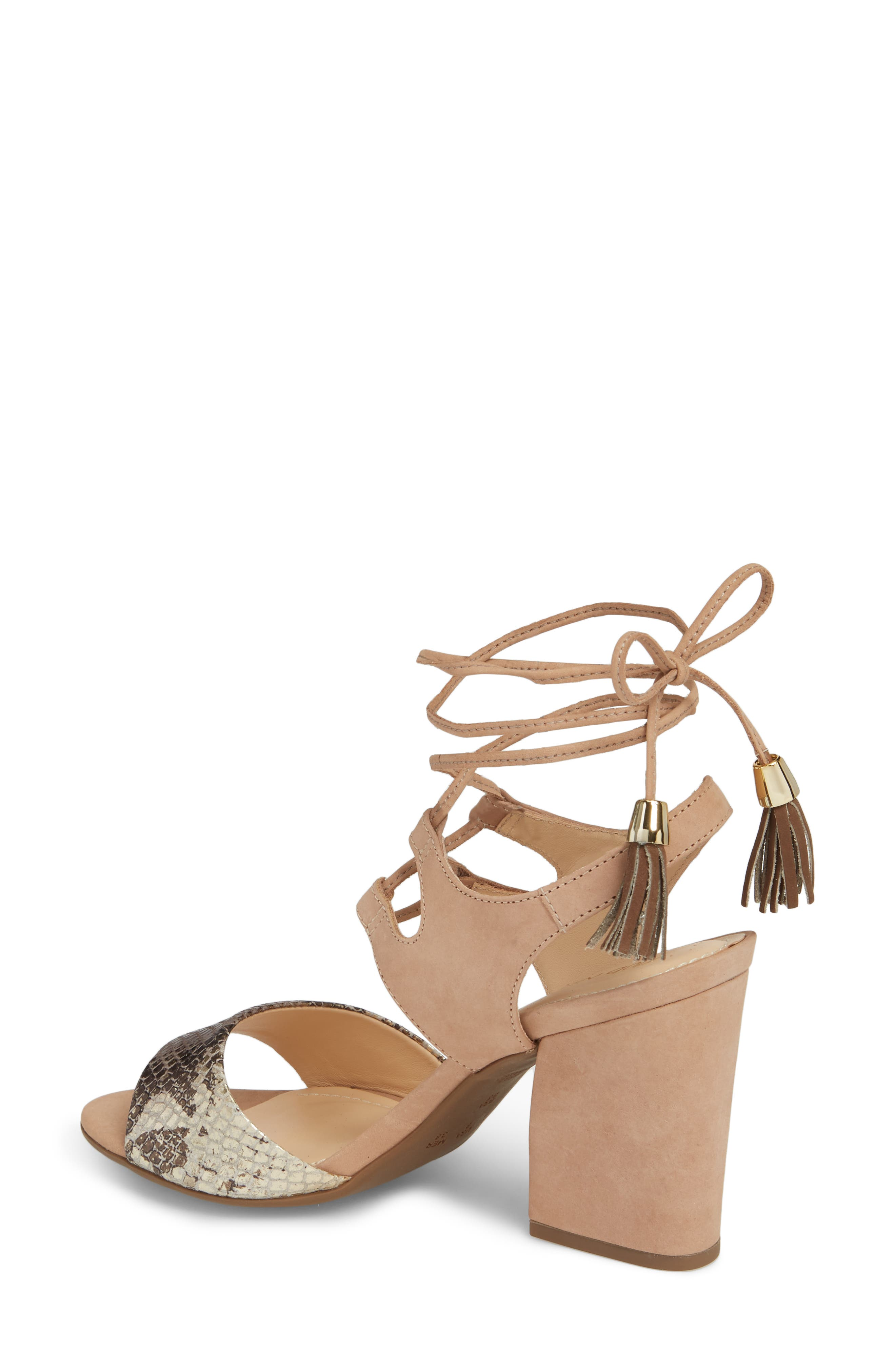 Kaira Ankle Wrap Sandal,                             Alternate thumbnail 2, color,                             Snake Print Leather